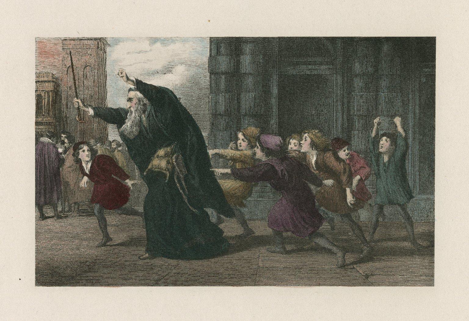 Shylock after the trial : merchant of Venice [scene spoken of by Salarino II, 8. Title misinforming] [graphic] / Sir John Gilbert ARA, Pinxt. 1846 ; G. Greatbach, sculpt.
