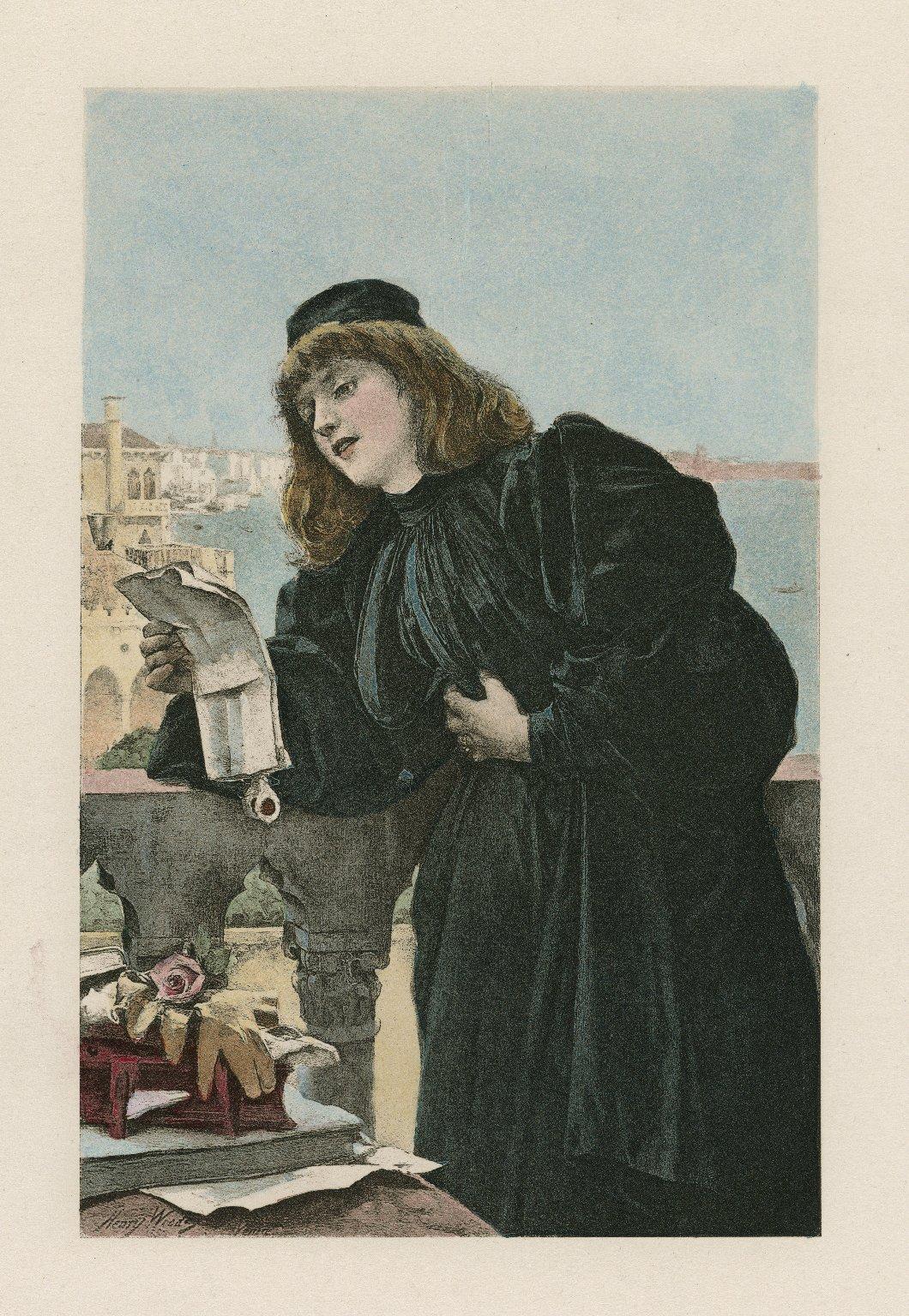 [Portia in Merchant of Venice [graphic] / [Henry Woods].