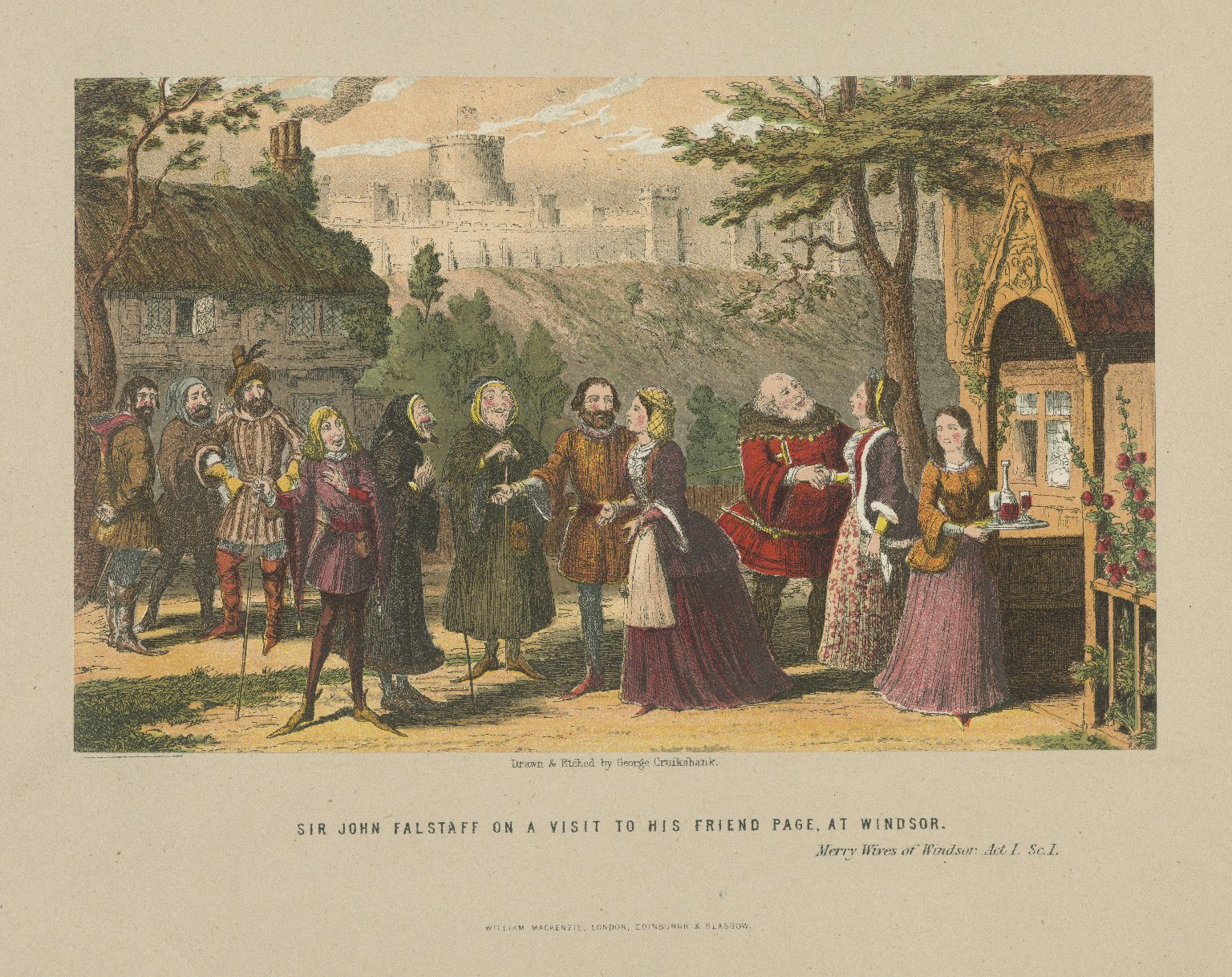 Merry wives of Windsor, act I, sc. I, Sir John Falstaff on a visit to his friend Page, at Windsor [graphic] / drawn & etched by George Cruikshank.