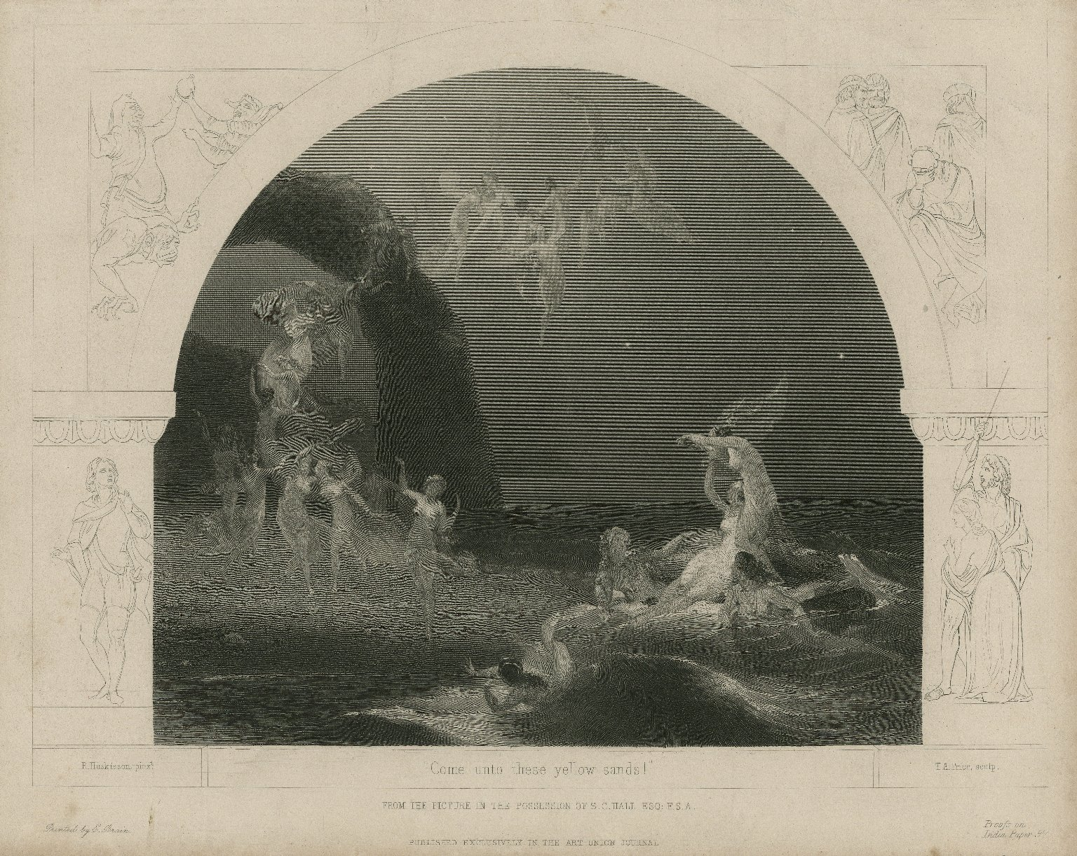 Come unto these yellow sands! ... [Tempest, act I, scene 2] [graphic] / R. Huskisson pinxt. ; T.A. Prior, sculp.