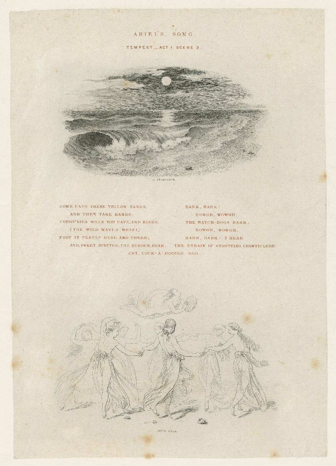Ariel's song, Tempest, act 1, scene 2: Come unto these yellow sands [graphic] / C. Stonhouse [part 1] ; John Bell [part 2].