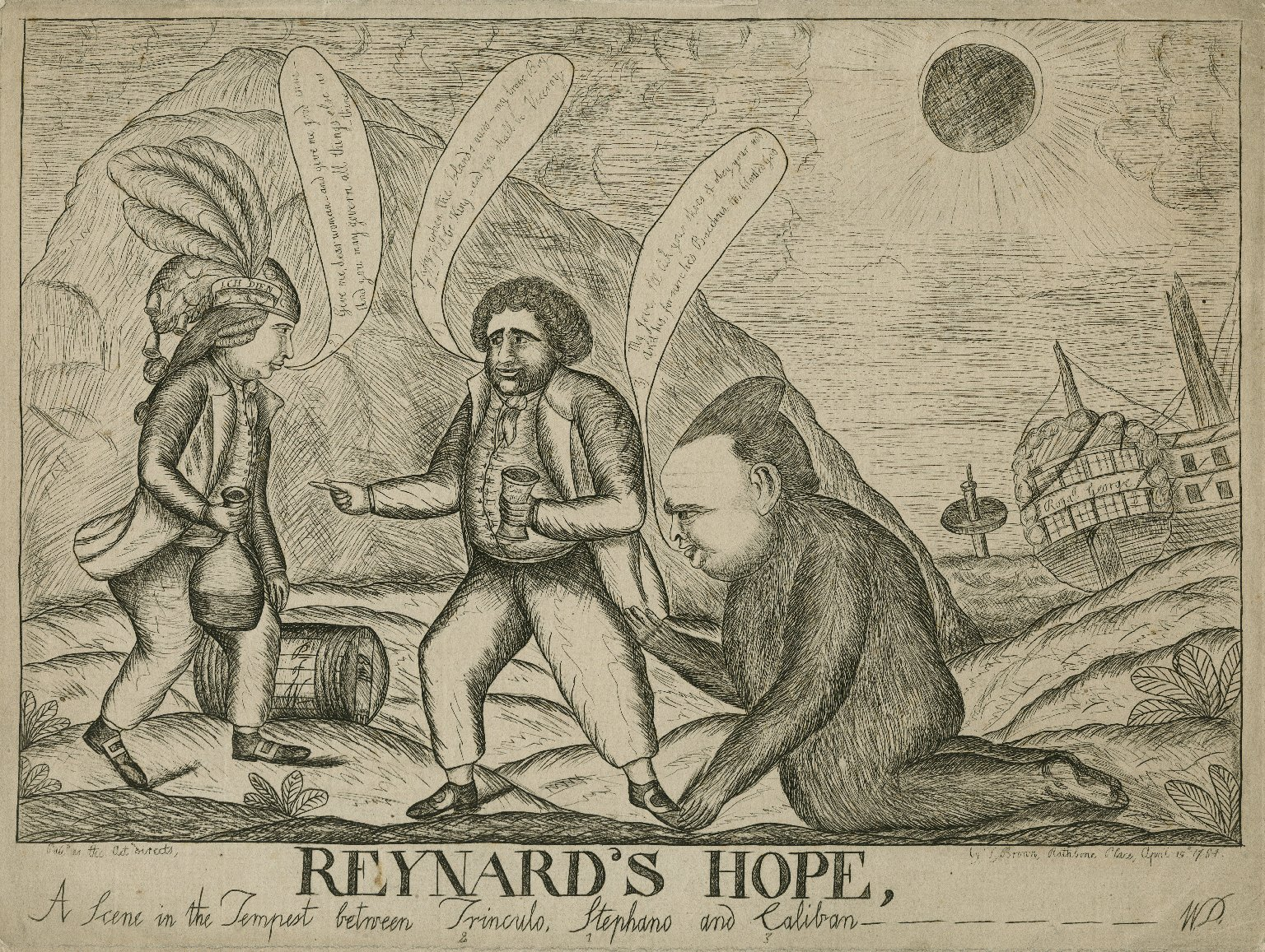 Reynard's hope, a scene in the Tempest between Trinculo, Stephano and Caliban [graphic] / W.D.