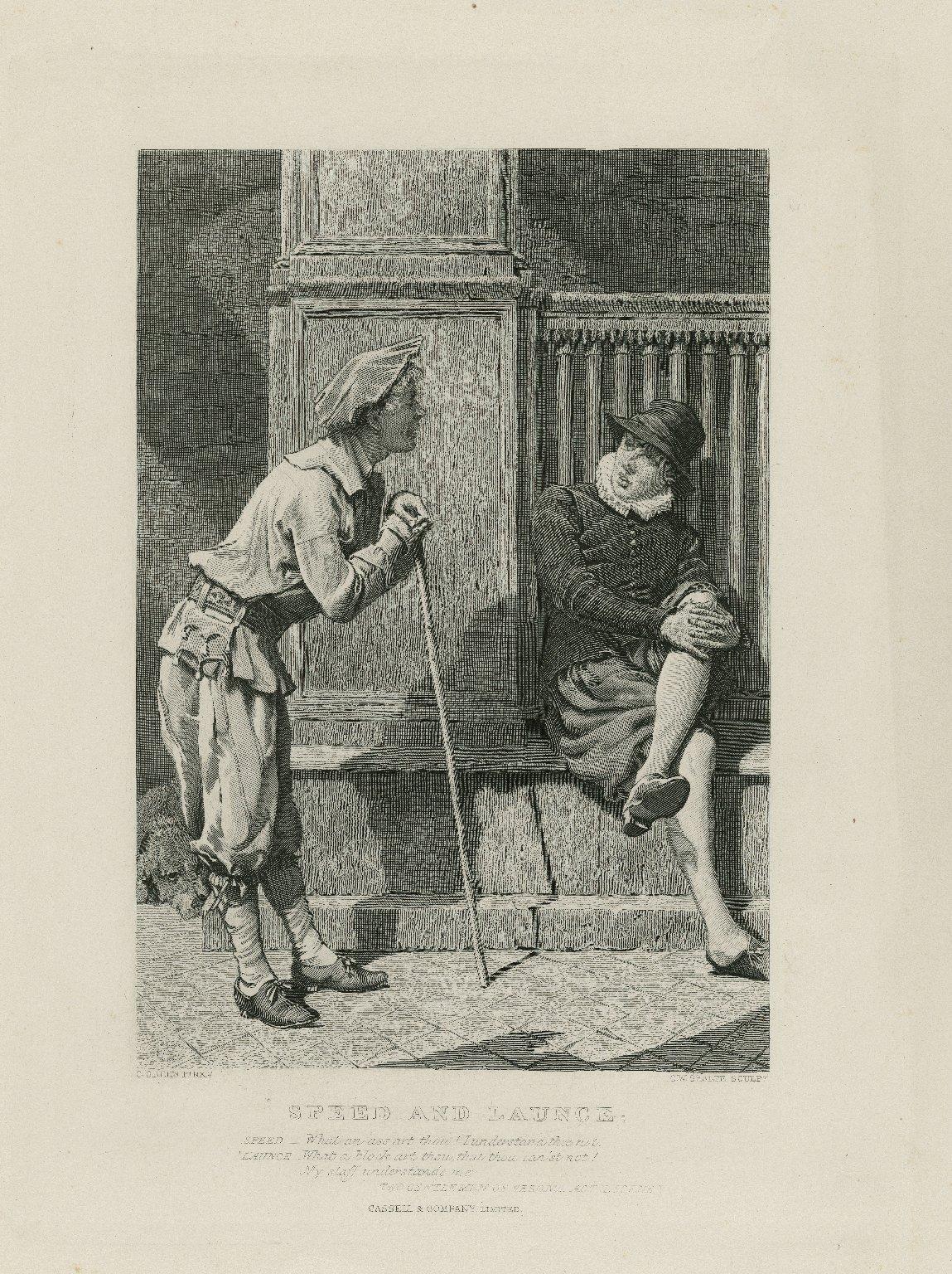Speed and Launce : Speed -- What an ass art thou ... Two gentlemen of Verona, act II, scene V [graphic] / C. Green Pinxt. ; C.W. Sharpe Sculpt.