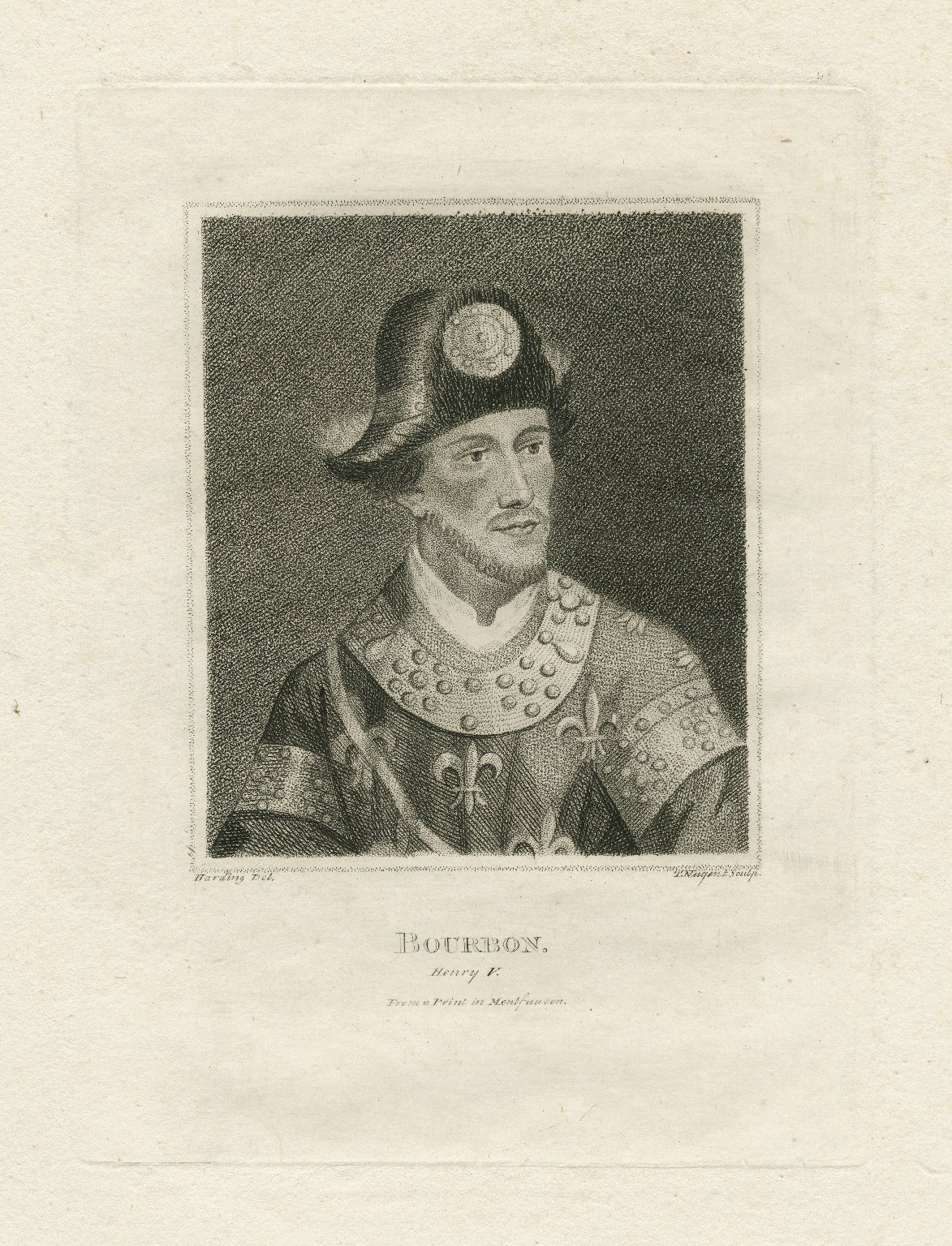 Bourbon [in Shakespeare's] Henry V, from a print in Montfaucon [graphic] / Harding, del. ; T. Nugent, sculp.