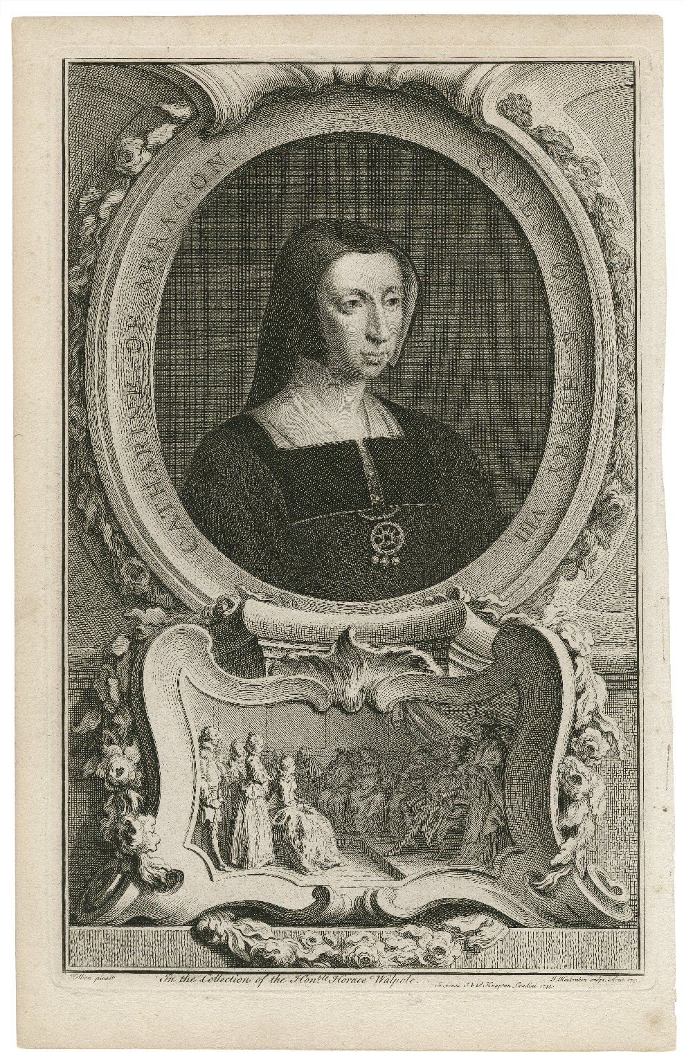 Catharine of Arragon, Queen of K. Henry VIII, in the collection of the Honble Horace Walpole [graphic] / Holben [sic] pinxit ; J. Houbraken sculps Amst. 1743.
