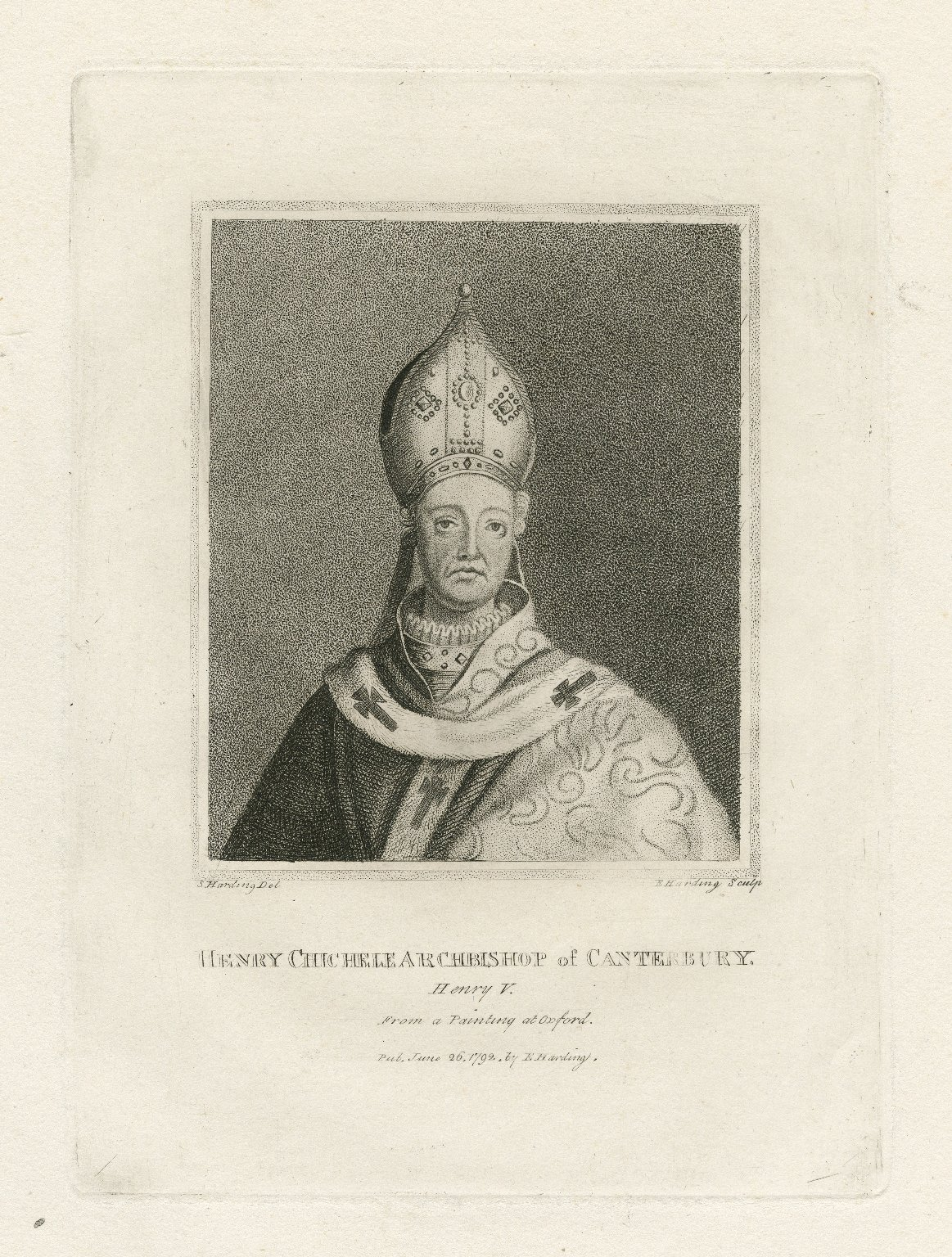 Henry Chichele, Archbishop of Canterbury, Henry V., from a painting at Oxford [graphic] / S. Harding, del. ; E. Harding, sculp.