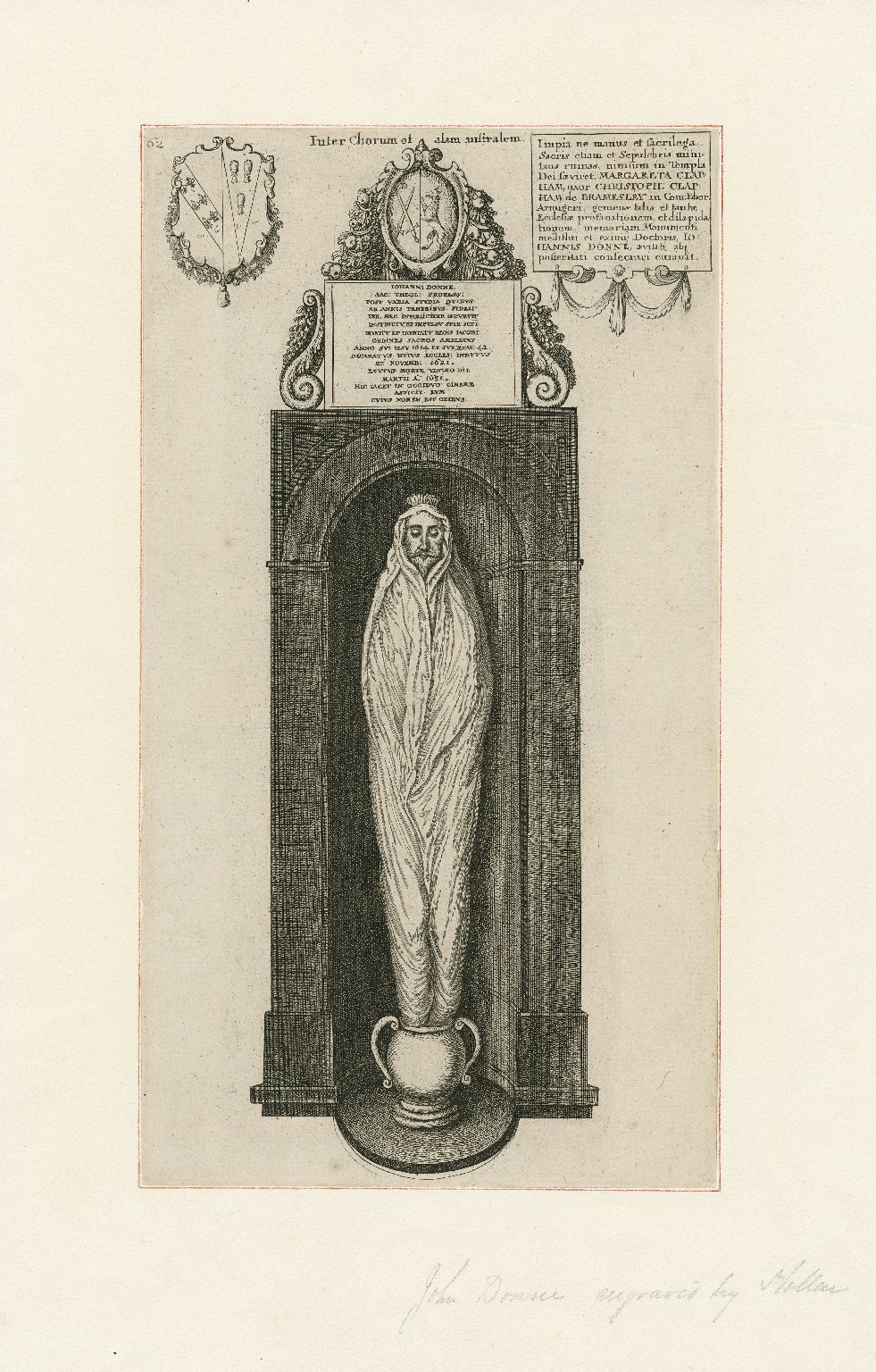 [John Donne, his monumental effigy, now in the crypt of St. Paul's Cathedral] [graphic] / [Wenceslaus Hollar].