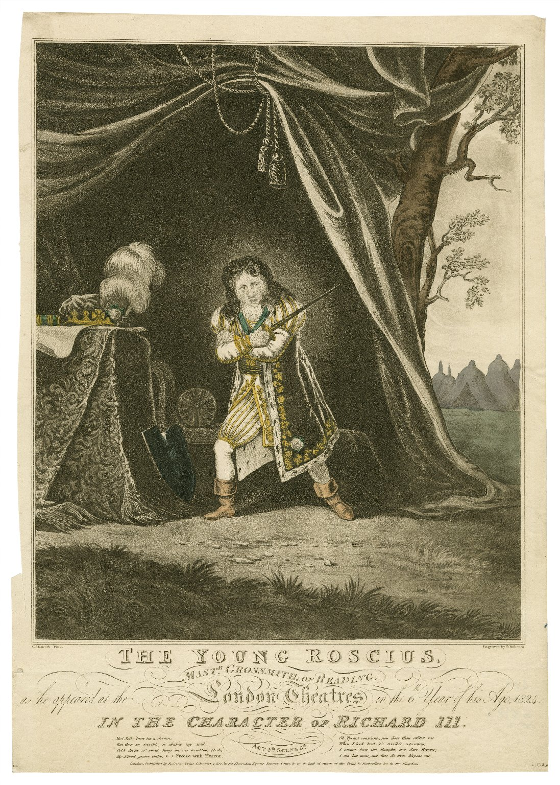 The young Roscius Mastr. Grossmith of Reading as he appeared ... in the 6th year of his age 1824 in the character of Richard III... [graphic] / G. Hancock pinx. ; engraved by P. Roberts.