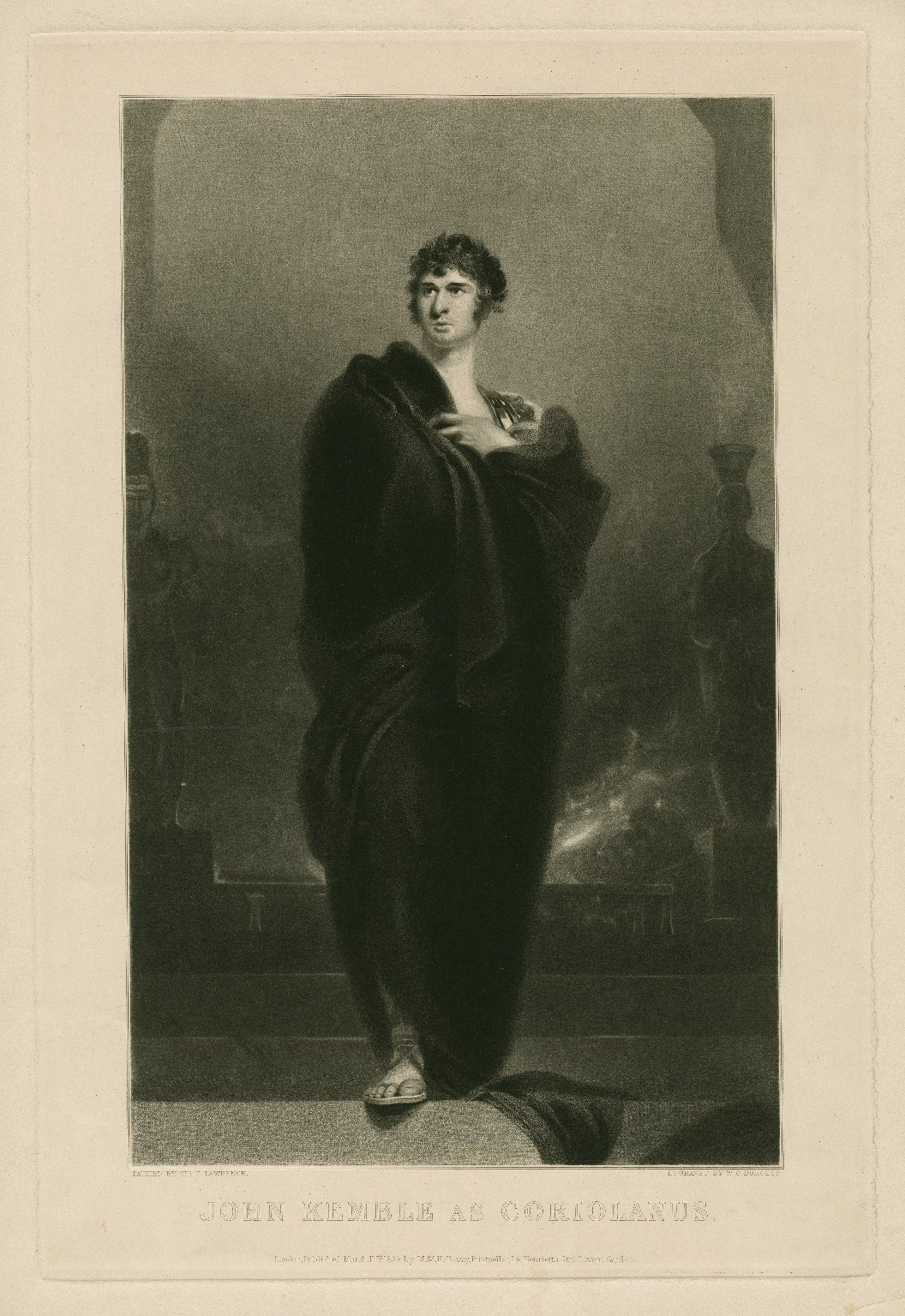 John Kemble as Coriolanus [graphic] : [in Shakespeare's play of that name] / painted by Sir T. Lawrence ; engraved by W.O. Burgess.