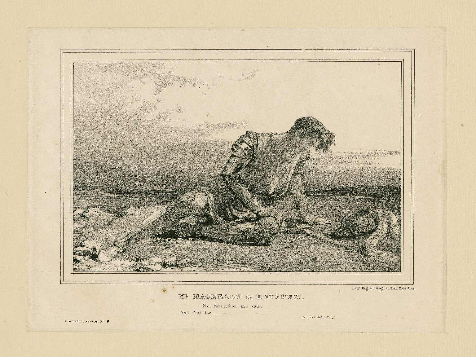 Mr. Macready as Hotspur, Henry IV act 5, sc. 2 [by Shakespeare] [graphic].