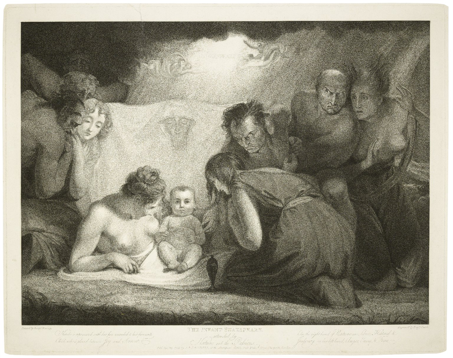 The infant Shakespeare attended by Nature and the Passions ... [graphic] / painted by George Romney ; engraved by Benjn. Smith.