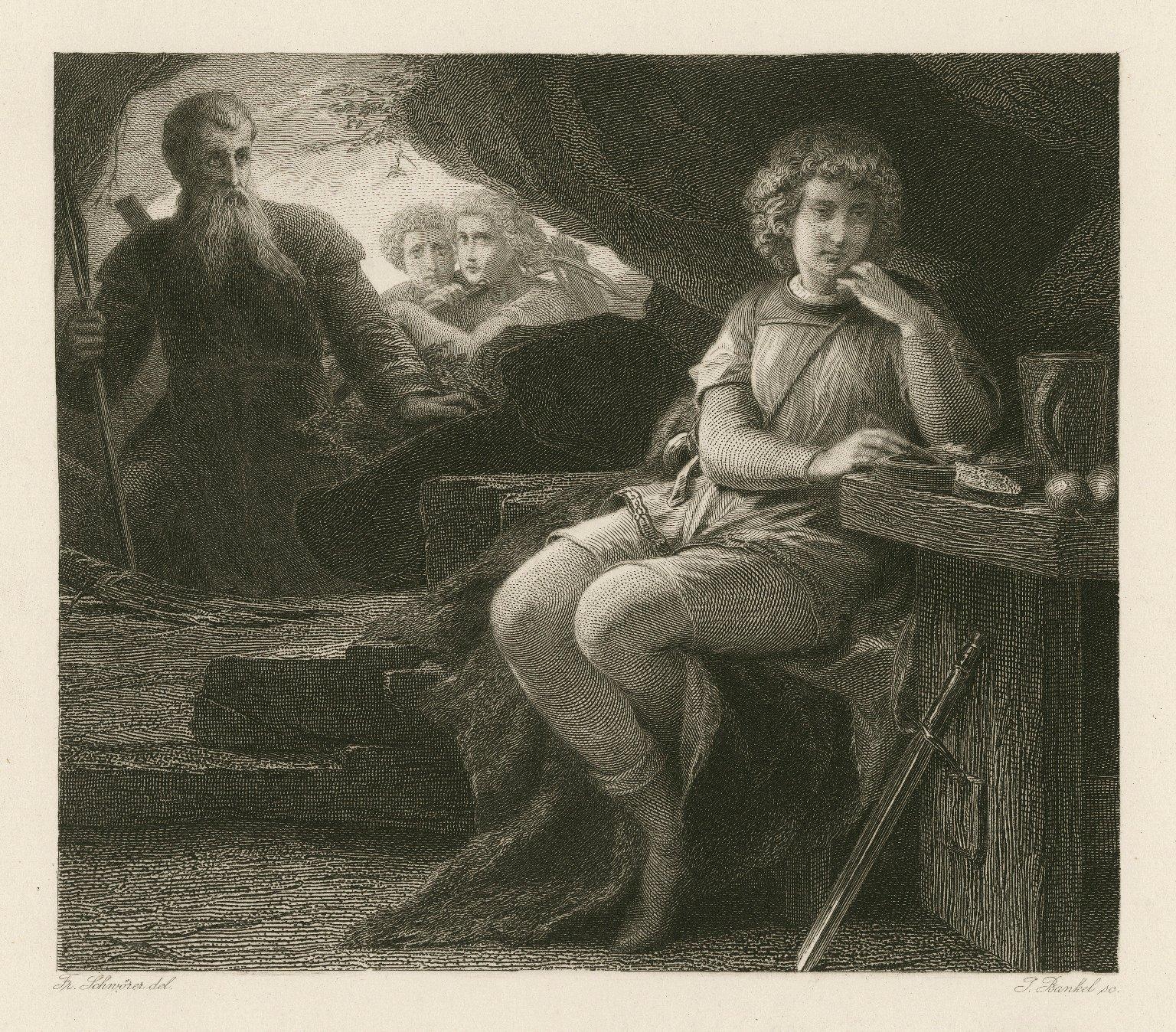 [Cymbeline, act III, sc. vi] [graphic] / Fr. Schwörer, del. ; J. Bankel, sc.