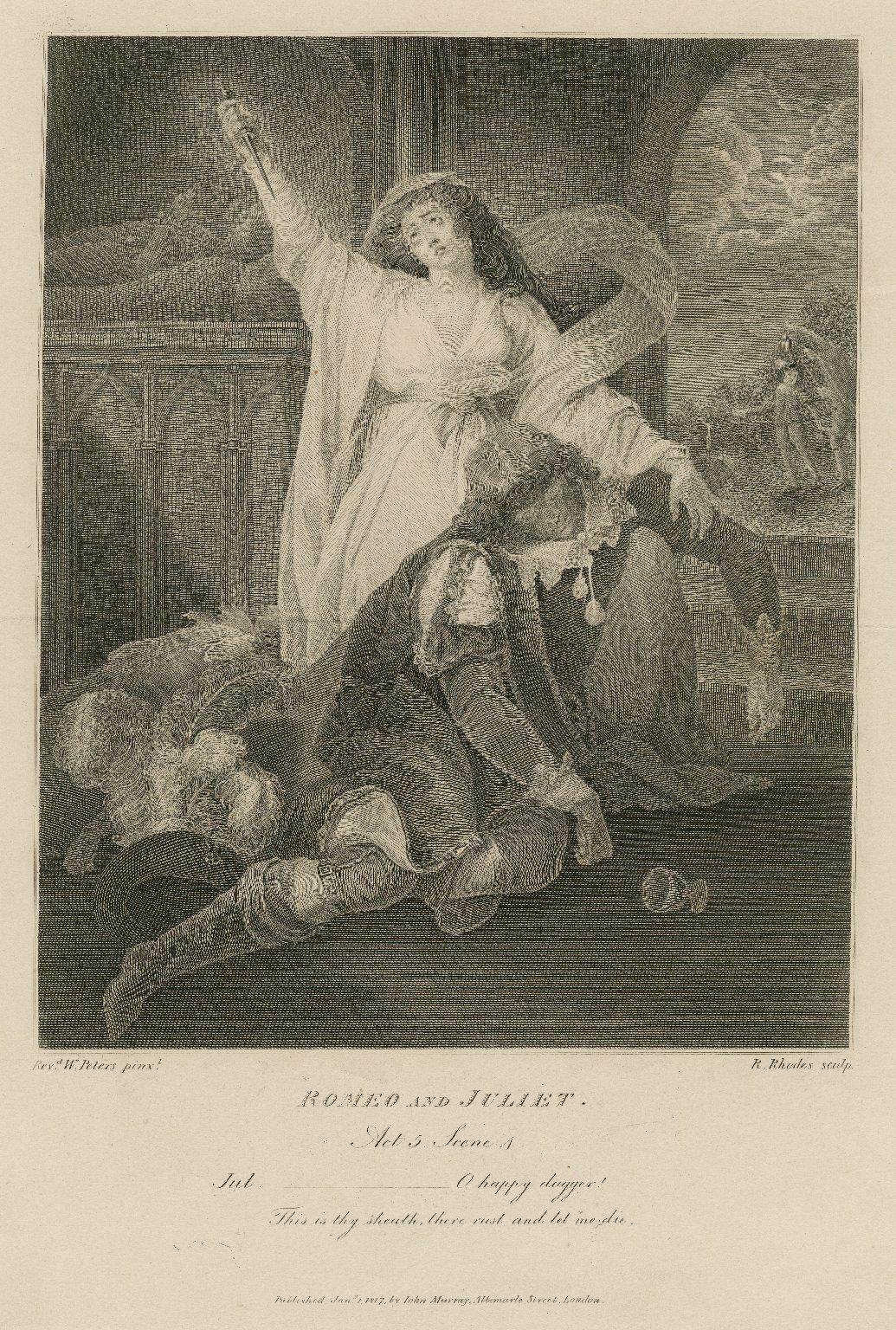 Romeo and Juliet, act 5, scene 4 [i.e. scene 3], Jul.: O happy dagger! ... [graphic] / Revd. W. Peters pinxt. ; R. Rhodes sculp.