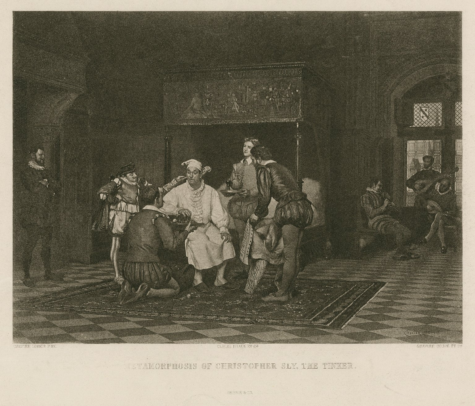 Metamorphosis of Christopher Sly, the tinker [Taming of the shrew: introduction, scene 2] [graphic] / Chester Loomis, pinxt. ; gravure, Goupil et cie.