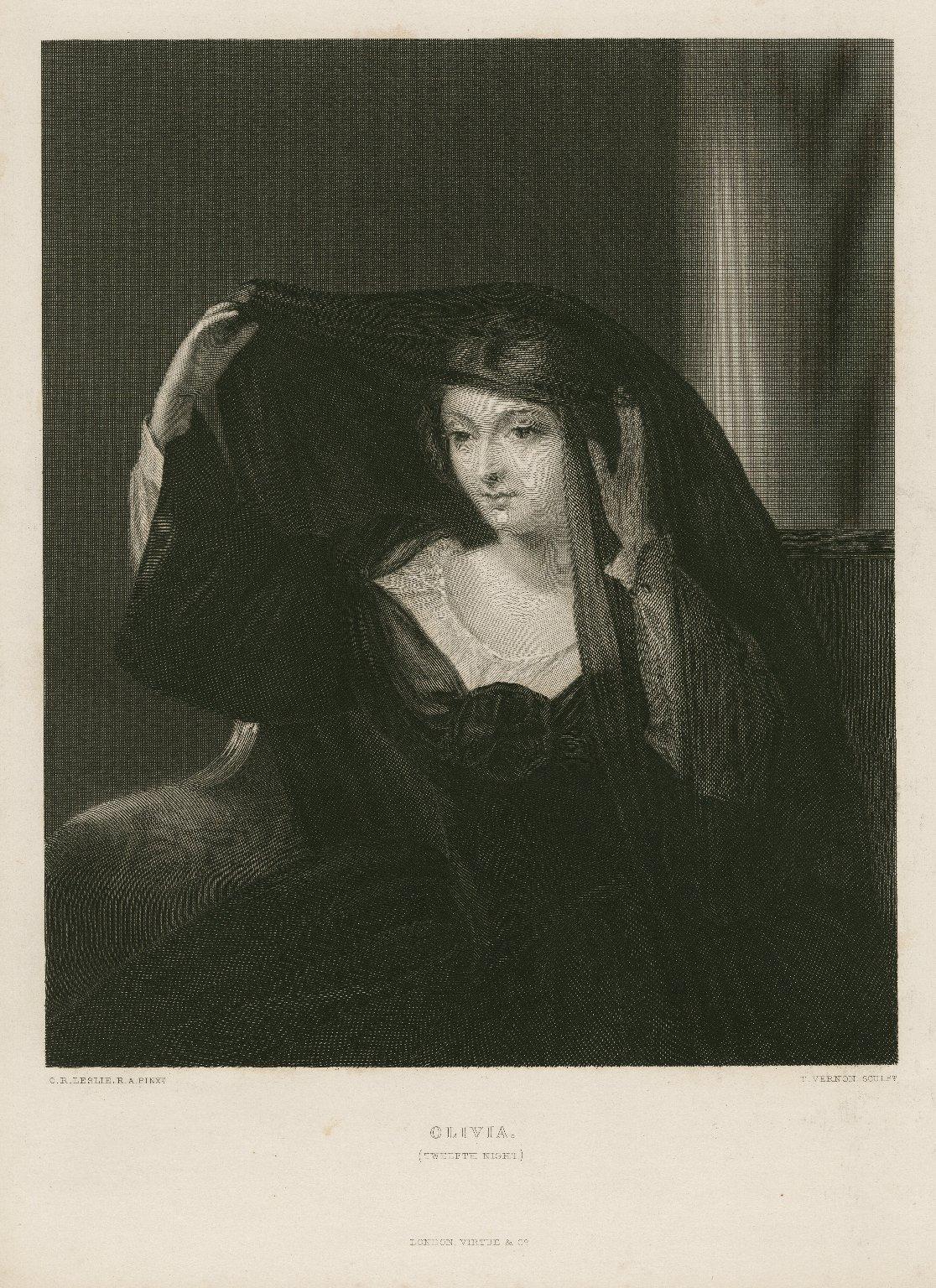 Olivia (Twelfth night) [graphic] / C. R. Leslie R. A. pinxt. ; T. Vernon sculpt.