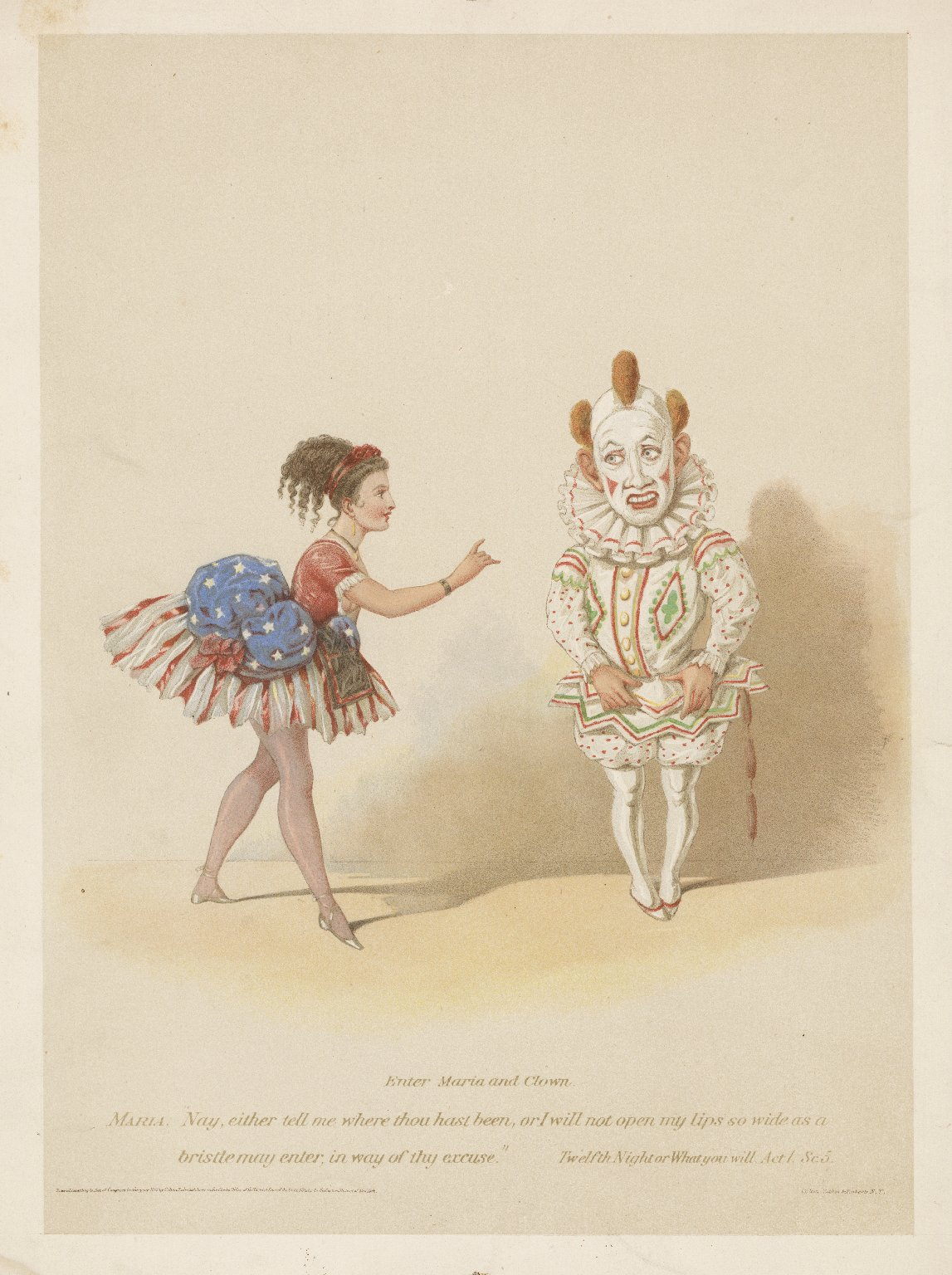"""Enter Maria and clown, Maria: """"Nay, either tell me where thou hast been..."""" Twelfth night or what you will, act 1,sc. 5 [graphic]."""