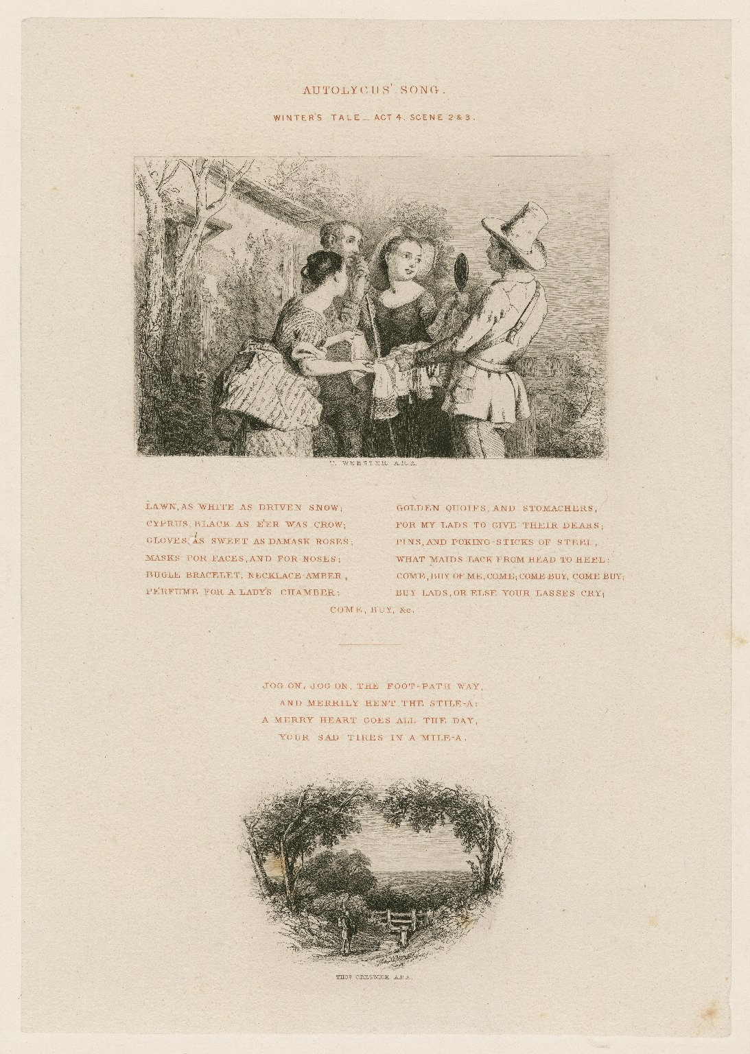 Winter's tale, Autolycus' song, act 4, scene 2 & 3 [i.e. scene 4] [graphic] / [part 1] T. Webster, A.R.A. ; part 2, Thos. Creswick, A.R.A.