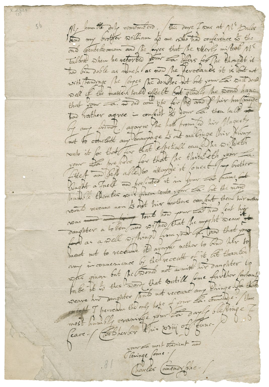 Letter from Sir Charles Cavendish, Coldharbour (Cooldherber), London, to Elizabeth Hardwick Talbot, Countess of Shrewsbury