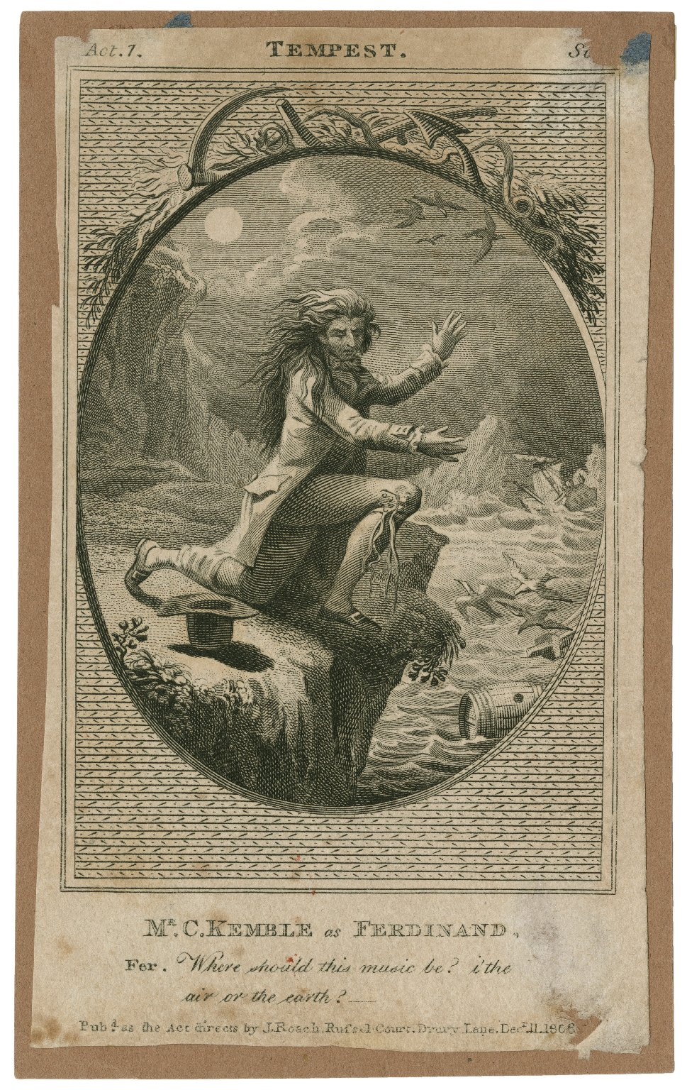 Mr. C. Kemble as Ferdinand ... [in Shakespeare's The tempest] [graphic].