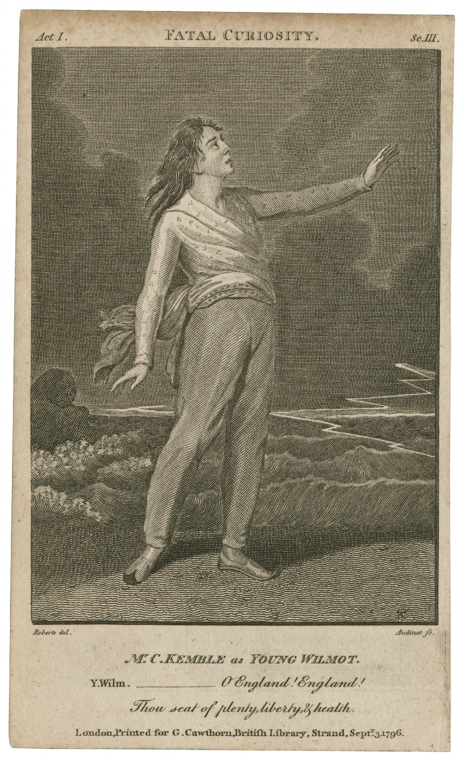 Mr. C. Kemble as Young Wilmot [graphic] : [in Lillo's Fatal curiosity] / Roberts, del. ; Audinet, sc.