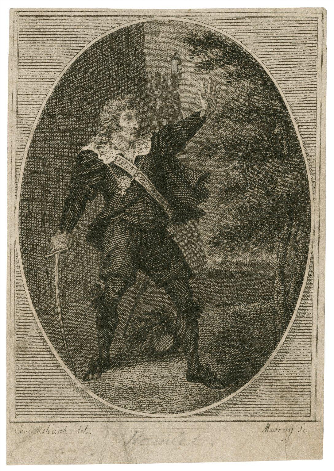 Mr. Kemble as Hamlet ... [in Shakespeare's Hamlet] [graphic] / Cruickshank [sic], del. ; Murray, sc.