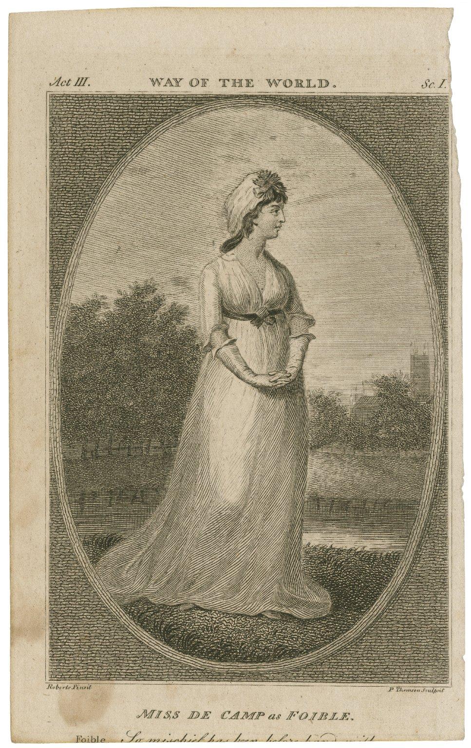 Miss de Camp as Foible [graphic] / Roberts, pinxit ; P. Thomson, sculpsit.