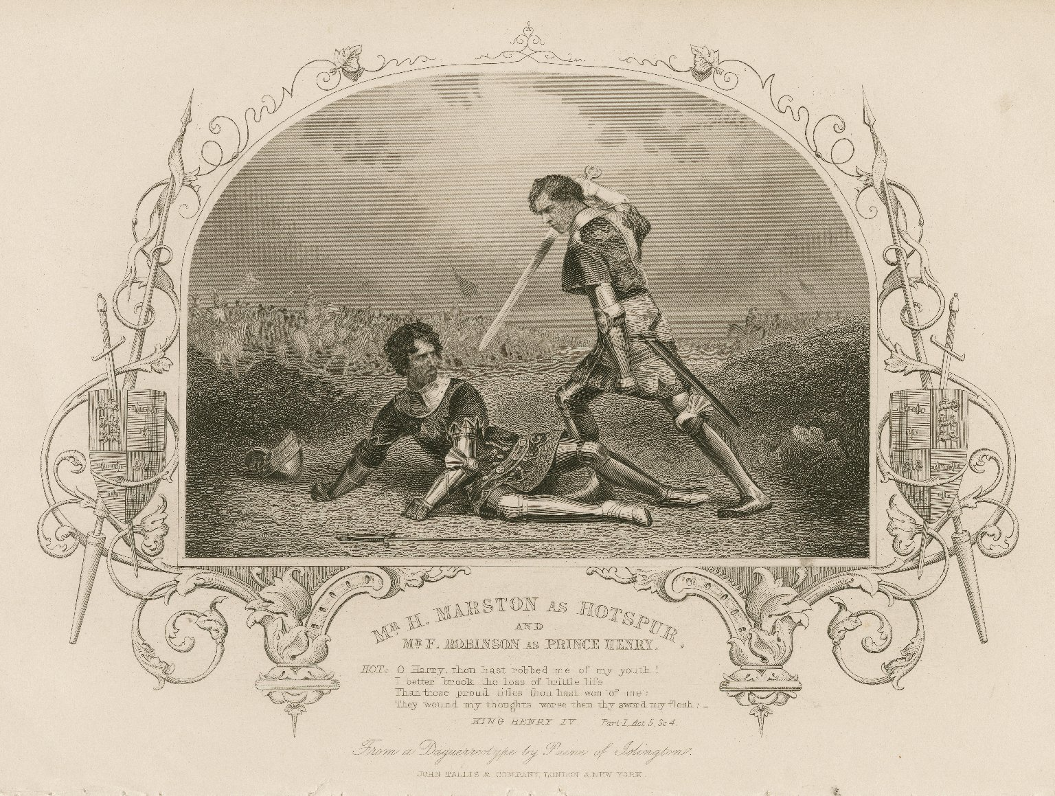 Mr. H. Marston as Hotspur, and Mr. F. Robinson as Prince Henry ... King Henry IV, part 1, act 5, sc. 4 [by Shakespeare] [graphic].
