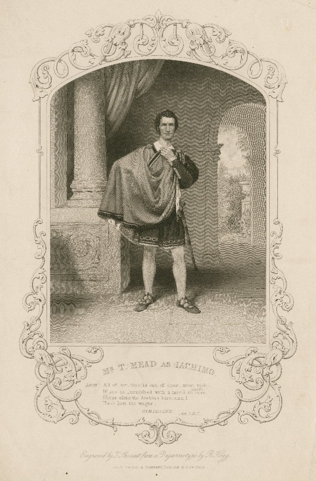 Mr. T. Mead as Iachimo ... [in Shakespeare's] Cymbeline ... [graphic] / engraved by T. Sherratt ; from a daguerreotype by R. Hogg.