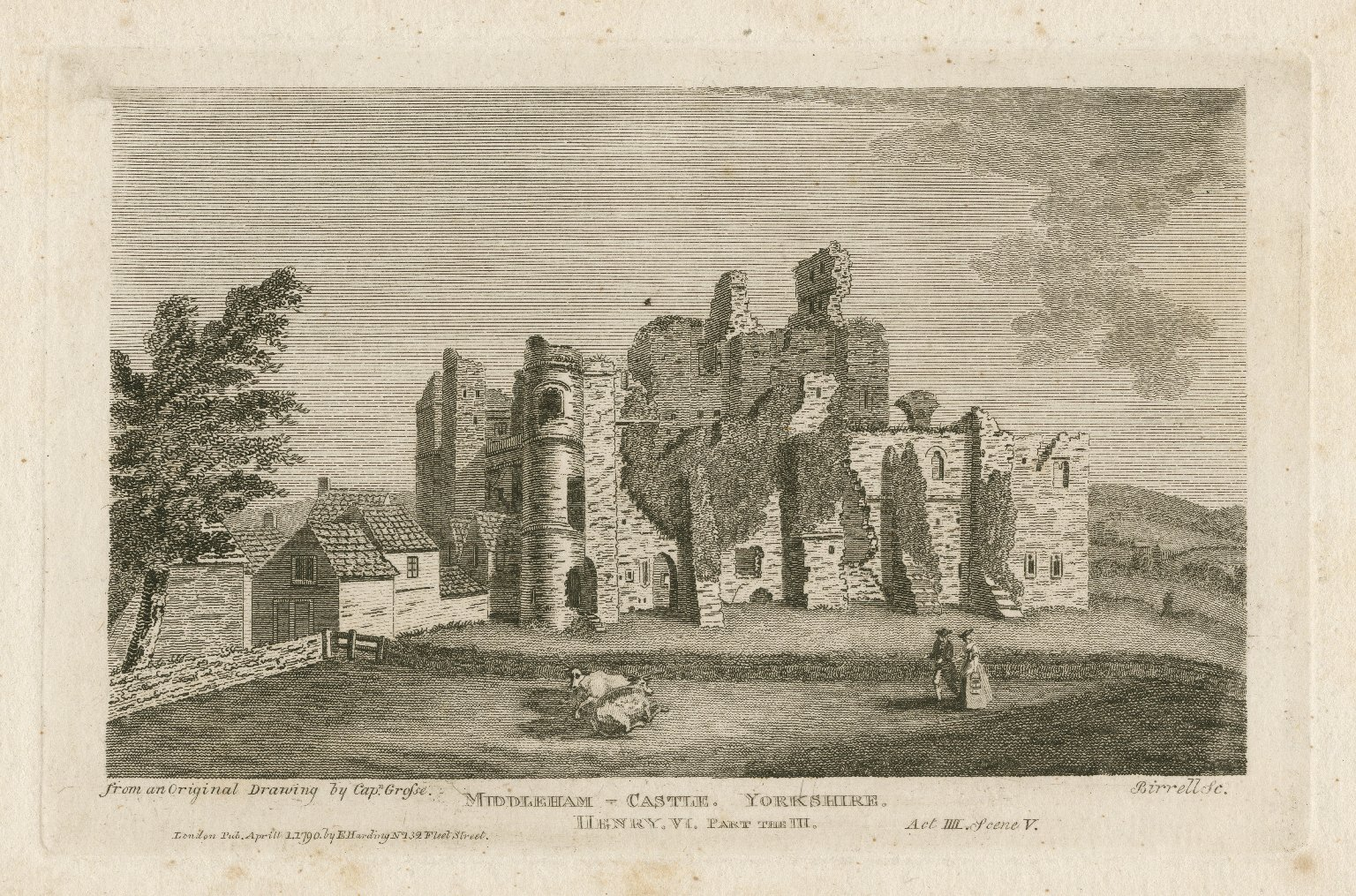 Middleham Castle, Yorkshire [graphic] : Henry VI, part the III, act IIII, scene V / from an original drawing by Capt. Grosse ; Birrell, sc.