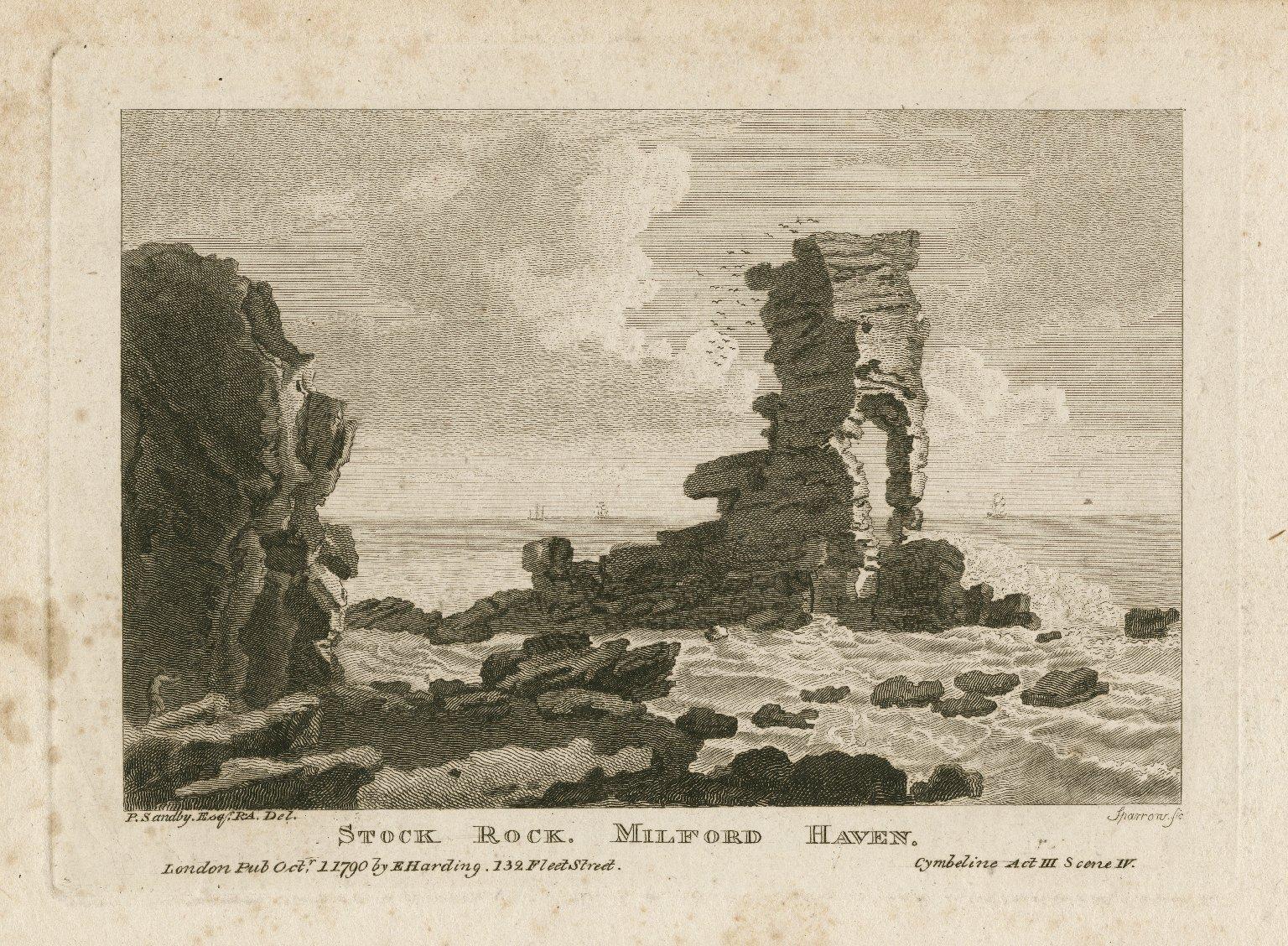 Stock Rock, Milford Haven, Cymbeline, act III, scene i [graphic] / P. Sandby, Esq. R.A. del. ; Sparrow, sc.