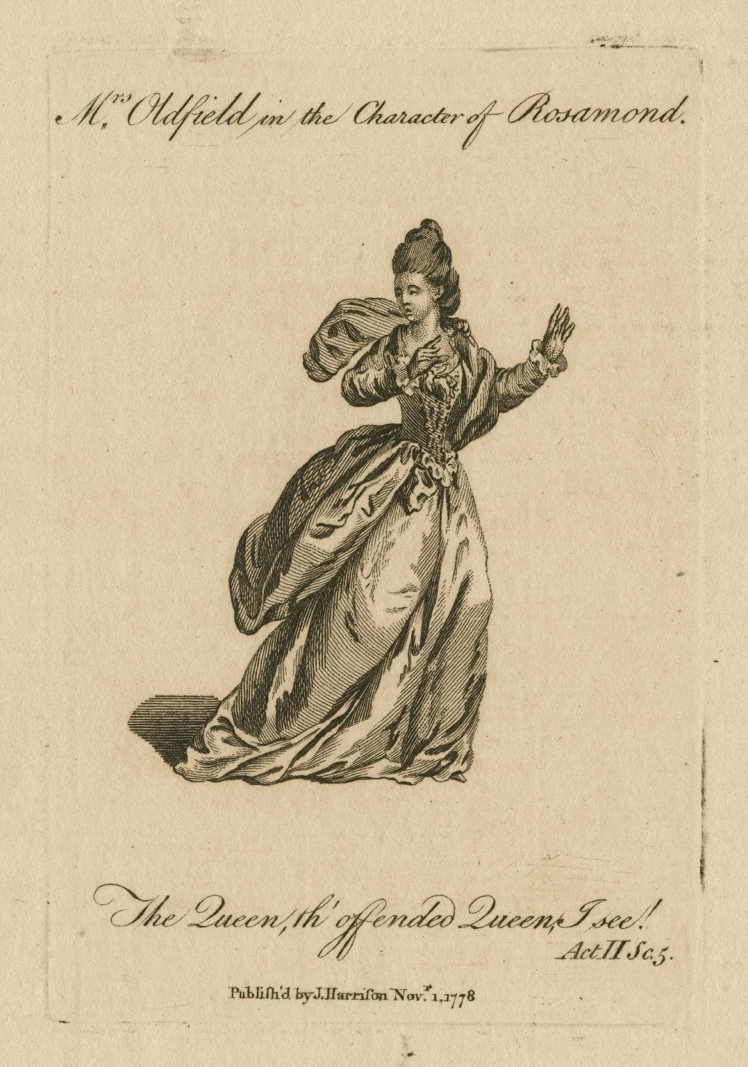 Mrs. Oldfield in the character of Rosamund [in Addison's play of that name] [graphic].