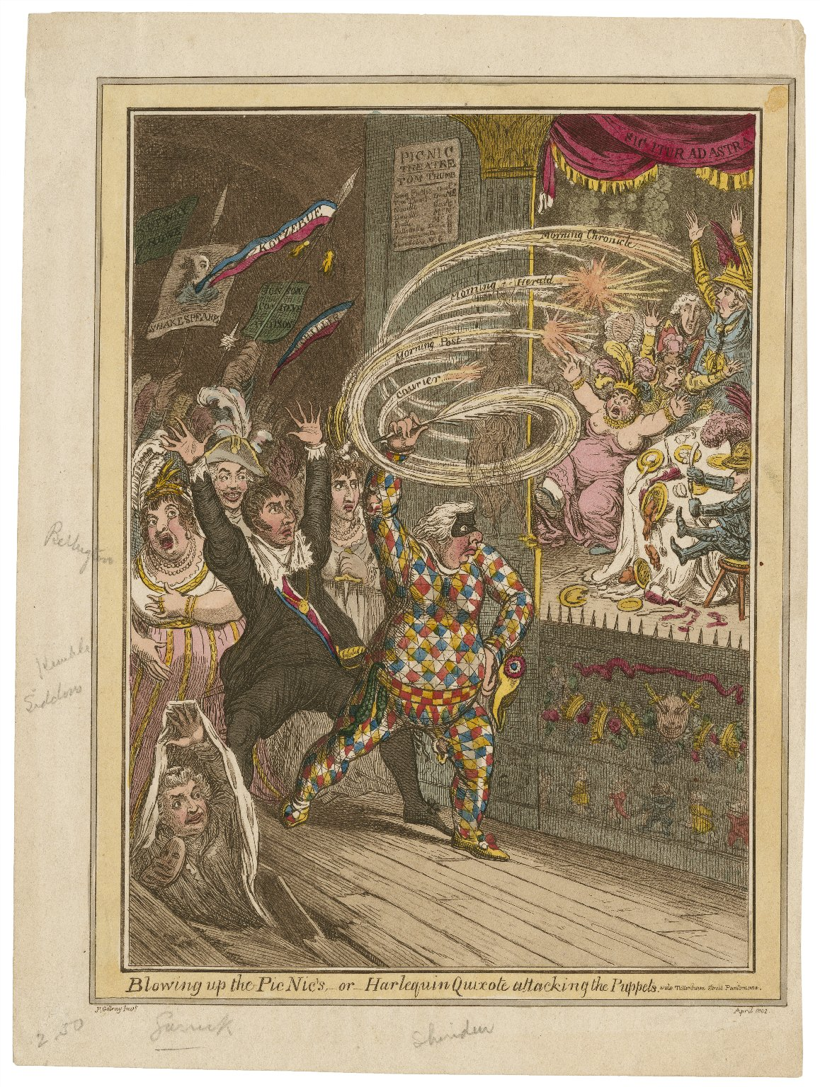 Blowing up the Pic Nic's, or, Harlequin Quixote attacking the puppets. Vide Tottenham street pantomime [graphic] / Js. Gillray, invt.