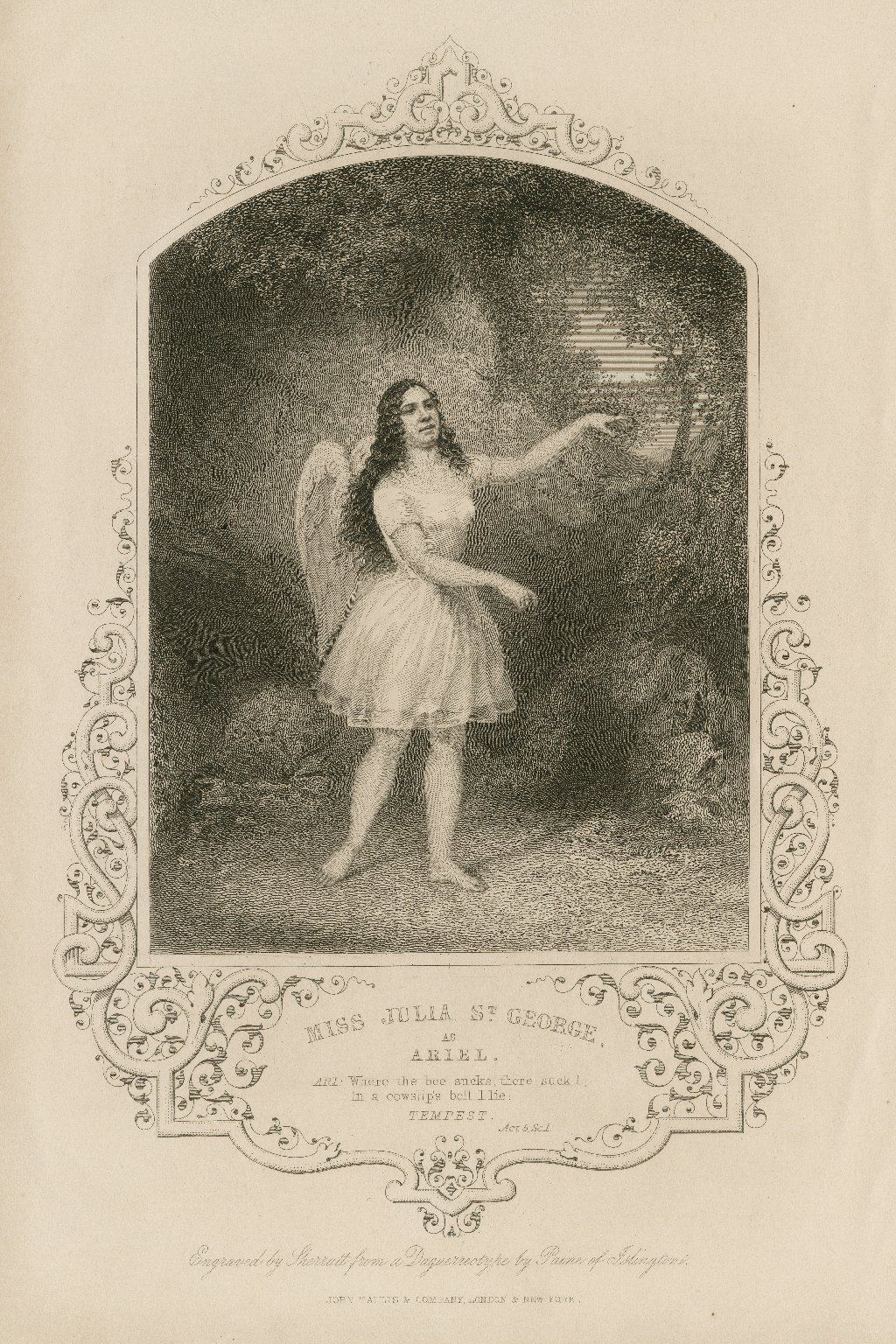 Miss Julia St. George as Ariel, Ari: Where the bee sucks, there suck I ... Tempest, act 5, sc. 1 [graphic] / engraved by Sherratt ; from a daguerreotype by Paine of Islington.