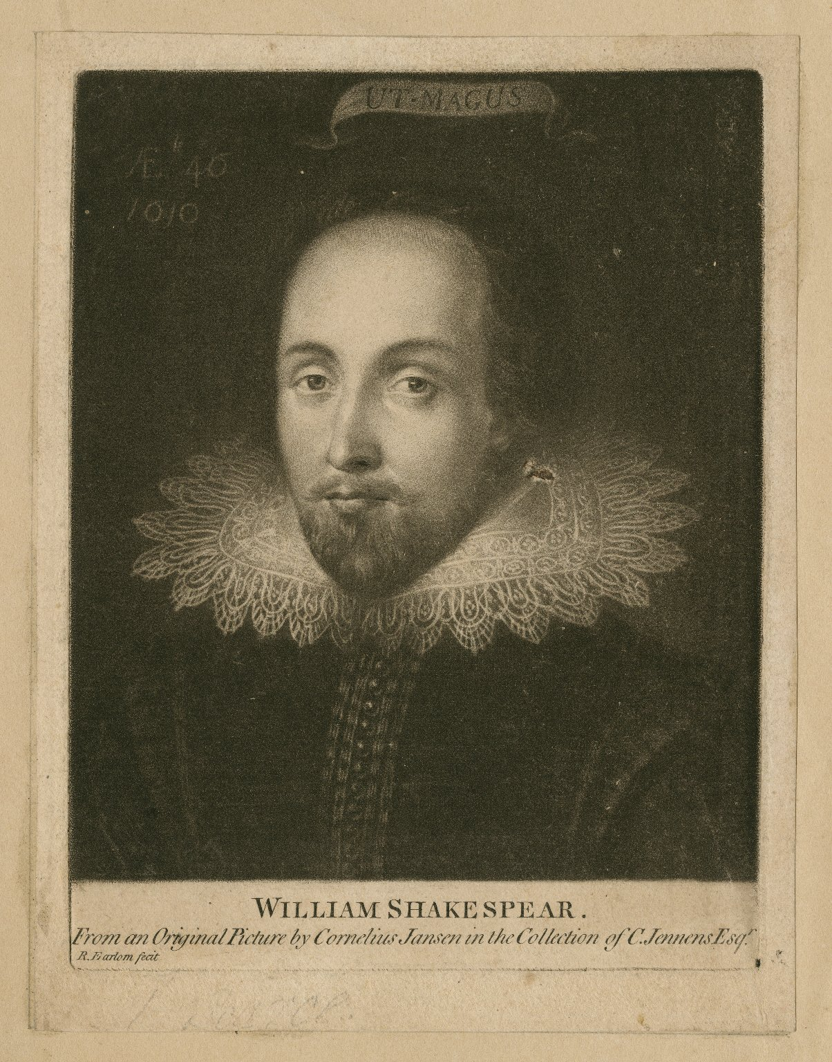 William Shakespear [graphic] / from an original picture by Cornelius Jansen in the collection of C. Jennens, esqr. ; R. Earlom fecit.