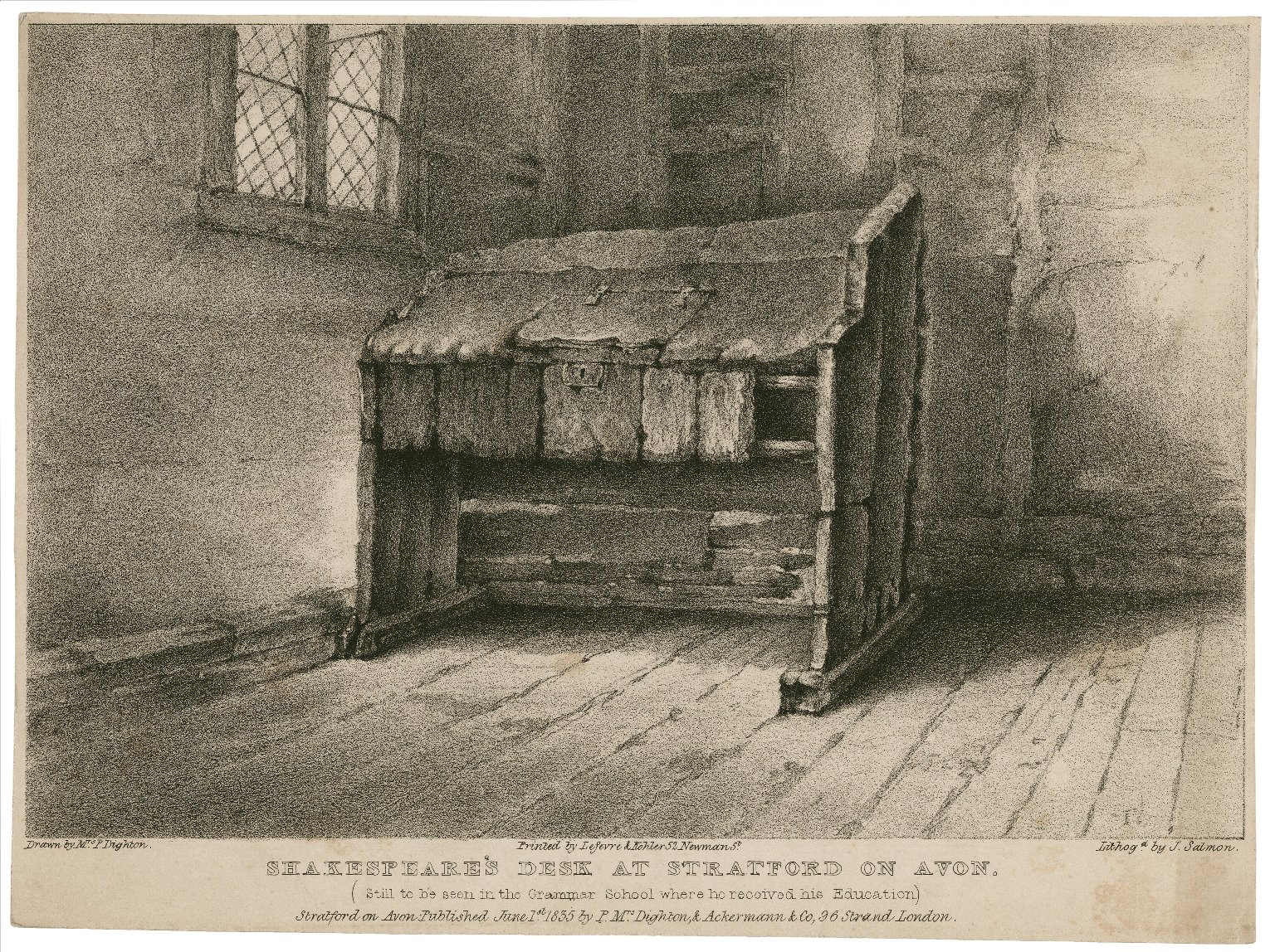 Shakespeare's desk at Stratford on Avon (still to be seen in the grammar school where he received his education) [graphic] / drawn by Mrs. P. Dighton ; lithogd. by J. Salmon.