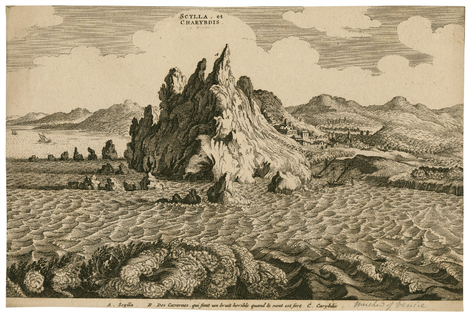 Scylla et Charybdis, A. Scylla, B. Des cavernes, qui sont un bruit horible quand le vent est fort, C. Carybdis [graphic] / [illegible signature].