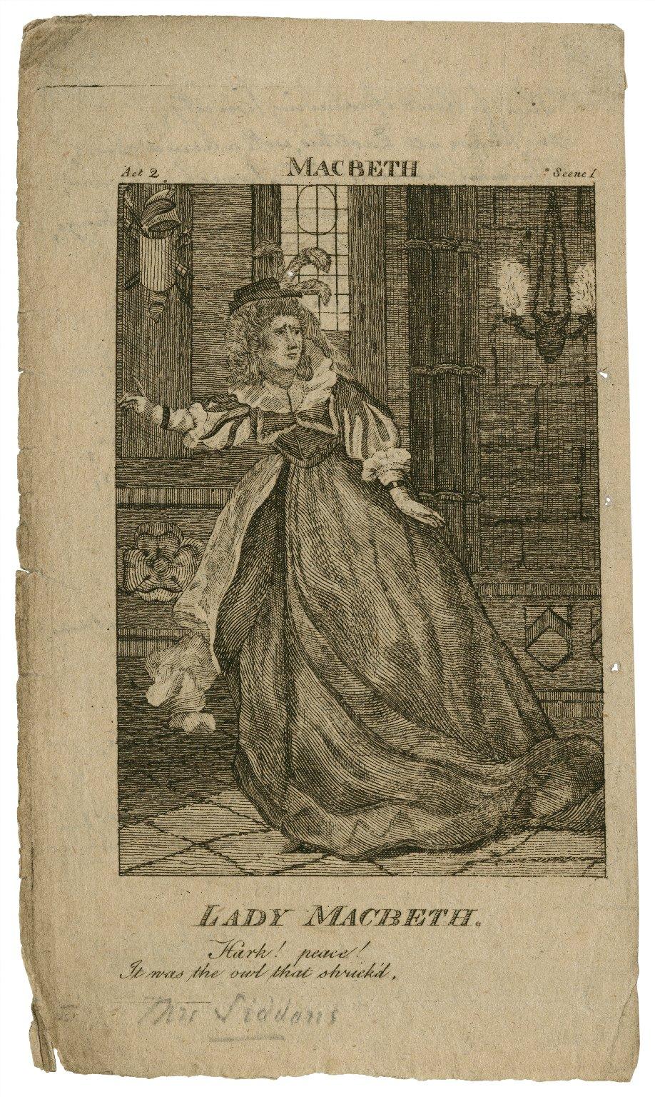 Lady Macbeth, Hark! peace! it was the owl that shriek'd, act 2, scene I [in Shakespeare's] Macbeth [graphic].