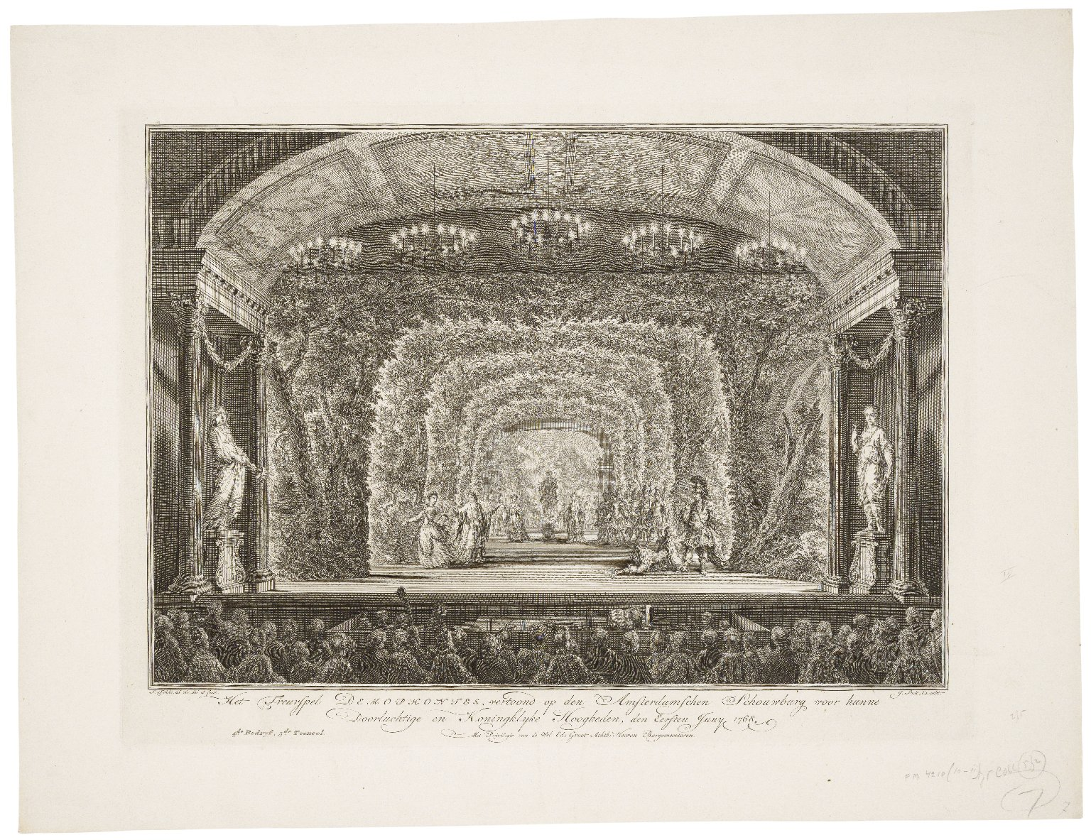 Het treurspel Demophontes, vertoond op den Amsterdamschen Schouwburg voor hunne doorluchtige en Koninglyke Hoogheden, den eersten Juny, 1768 [graphic] / S. Fokke, ad viv. del. et fecit.