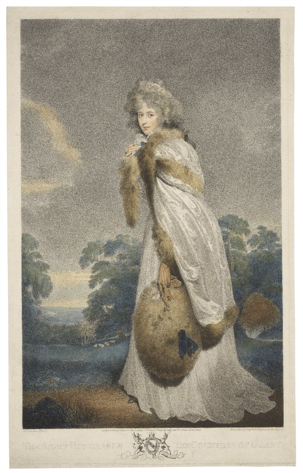 The right honorable the Countess of Derby [graphic] / T. Lawrence, pinxt. ; F. Bartolozzi, sculpt.