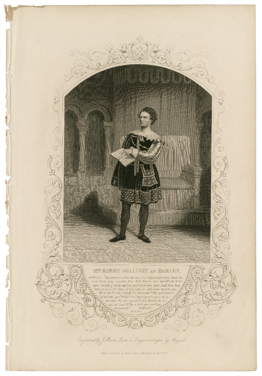 """Mr. Barry Sullivan as Hamlet [in the play by Shakespeare] Hamlet: """"Slanders, sir..."""" act 2, sc. 2 [graphic] / engraved by J. Moore from a daguerreotype by Mayall."""