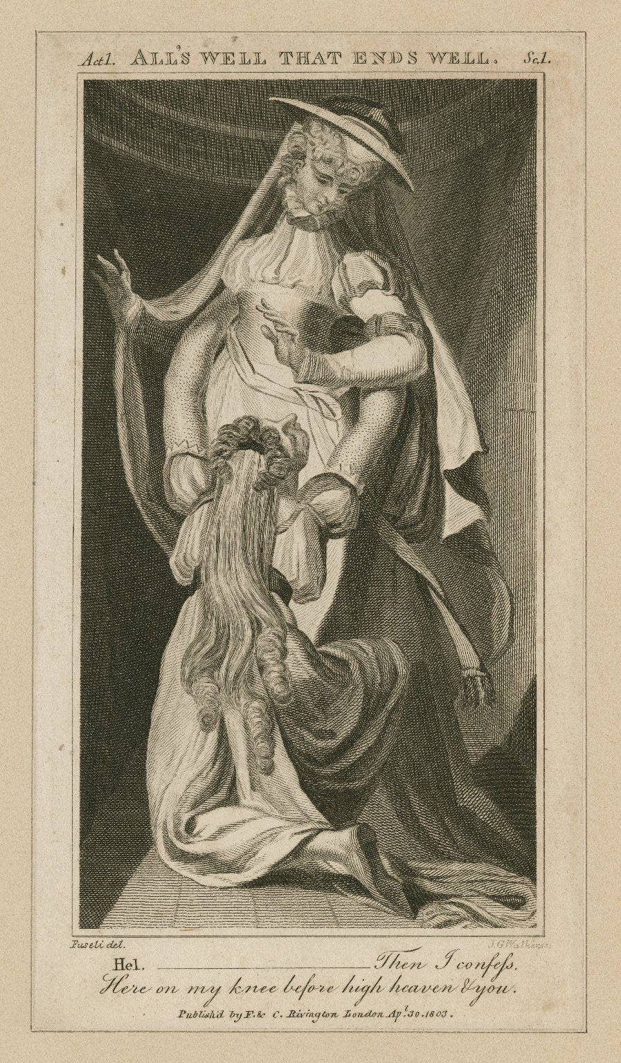 All's well that ends well, act 1, sc. 1 [i.e. 3] ... then I confess here on my knee ... [graphic] / [Henry] Fuseli, del. ; J.G. Walker, sc.