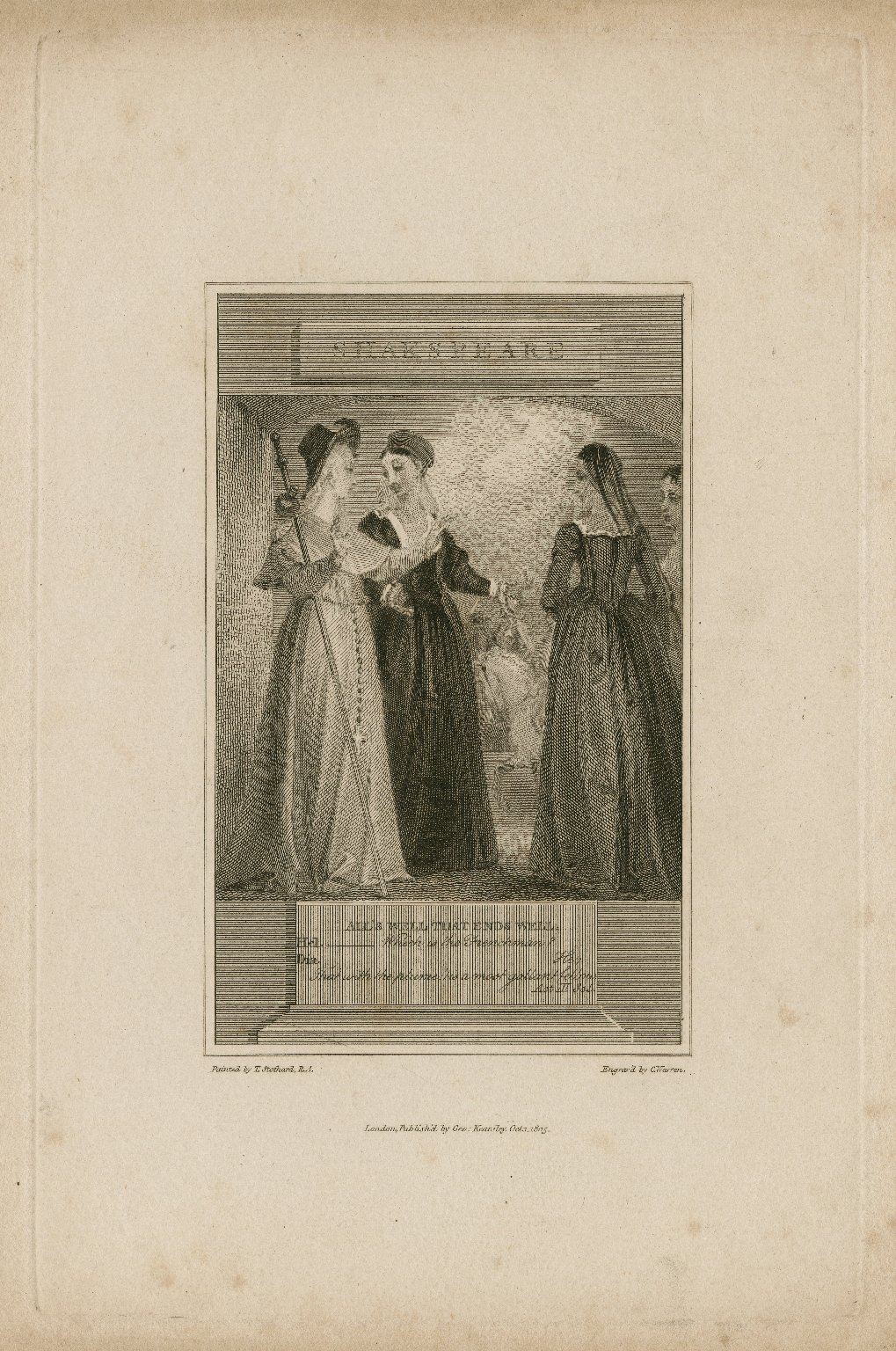 All's well that ends well, Hel.: Which is the Frenchman? Dia.: He; that with the plumes ... act III, sc. 5 [graphic] / painted by T. Stothard, R.A. ; engrav'd by C. Warren.