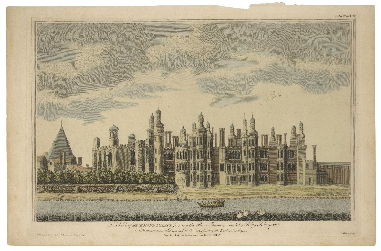A view of Richmond Palace fronting the River Thames, as built by King Henry VIIth, from an antient drawing in the possession of the Earl of Cardigan ... [graphic] / J. Basire sculpt.