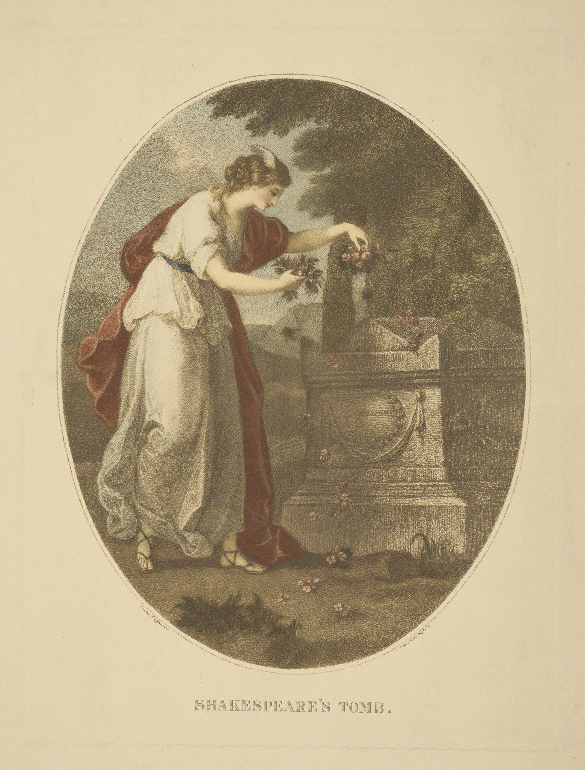 Shakespeare's tomb [graphic] / Angelica Kauffman pinxt. ; F. Bartolozzi sculp. 1782.