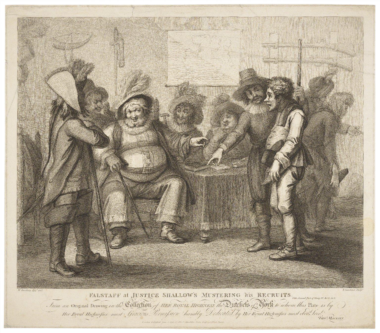 Falstaff at Justice Shallow's mustering his recruits ... Second part of Henry IV, act 3, sc. 3 [i.e. 2] ... [graphic] / H. Bunbury esqr. delt. ; N. Gardiner sculpt.