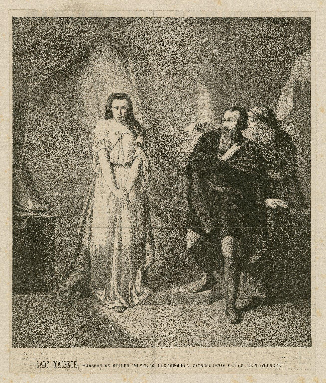 Lady Macbeth, tableau de Muller (Musée du Luxembourg) ... [Macbeth, act V, sc.1] [graphic] / Gillot ; Lithographié par Ch. Kreutzberger.