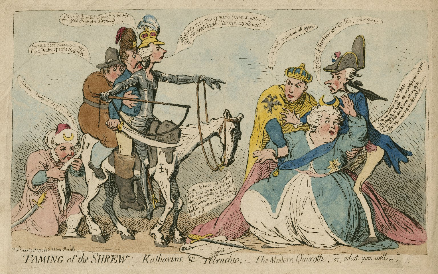 Taming of the shrew, Katharine & Petruchio, the modern Quixotte [sic] or, what you will [graphic] / [James Gillray].
