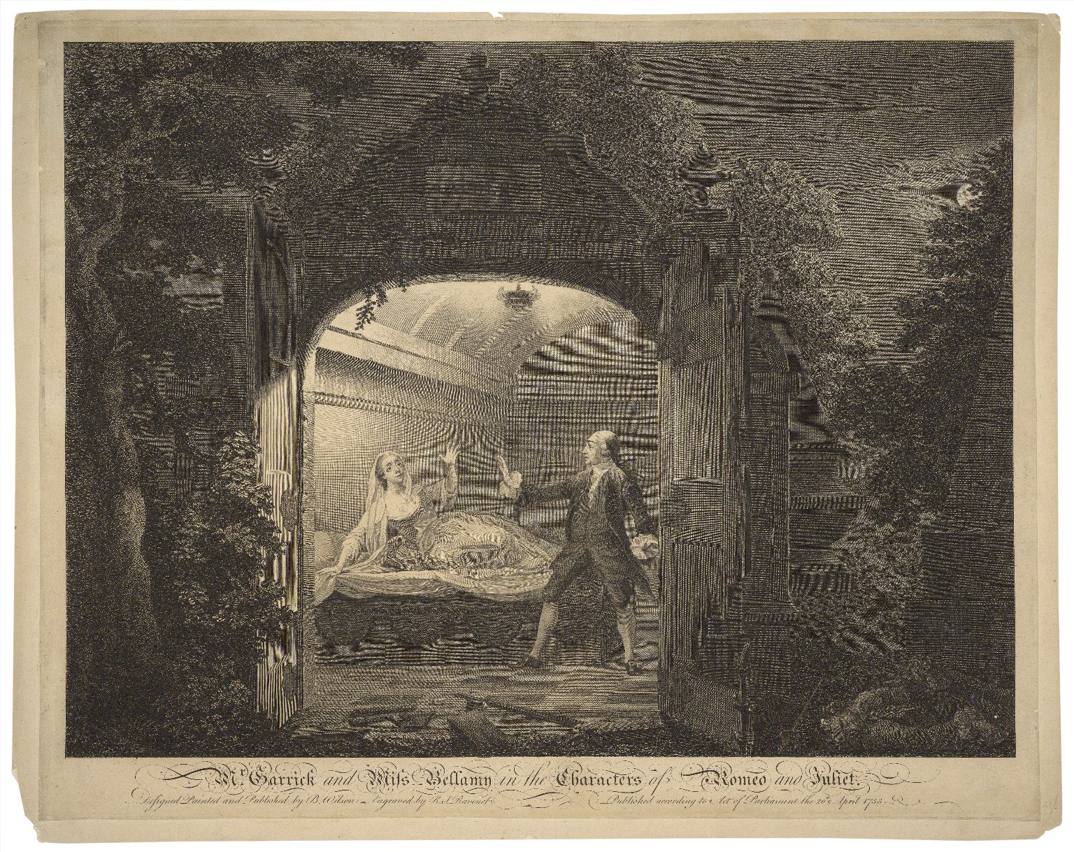 Mr. Garrick and Miss Bellamy in the characters of Romeo and Juliet [Romeo and Juliet. Act V, scene 3] [graphic] / designed, painted, and published by B. Wilson ; engraved by R.S. Ravenet [sic].
