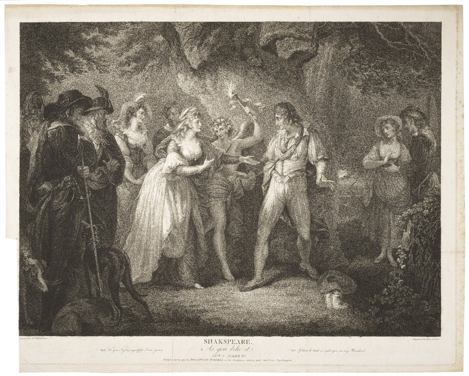 As you like it, act V, scene IV: Ros. To you I give myself, for I am yours ... [graphic] / painted by Wm. Hamilton ; engraved by Peter Simon.