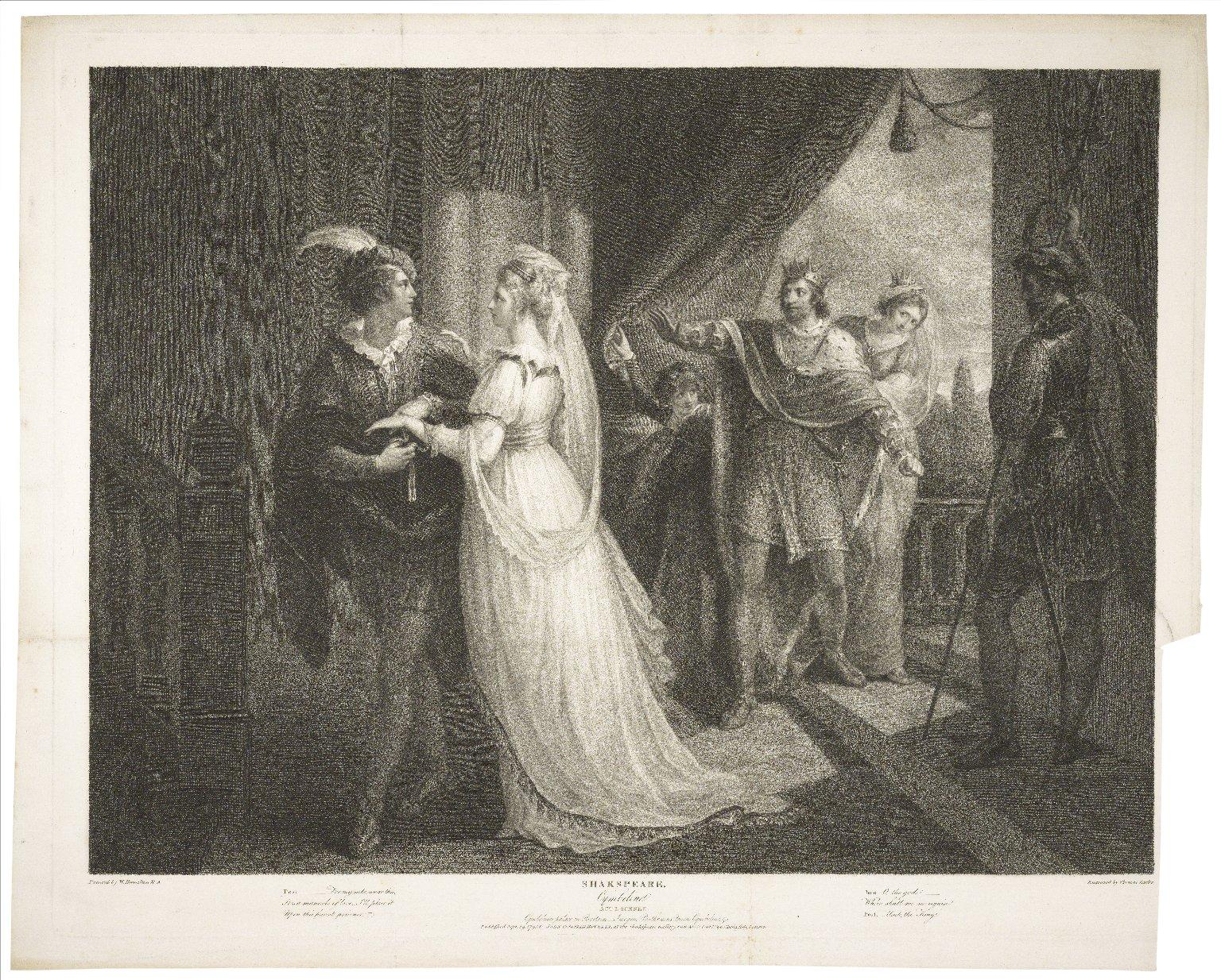 Cymbeline, act I, scene II [i.e. I], Cymbeline's palace in Britain: Imogen, Posthumus, Queen, Cymbeline &c... [graphic] / painted by W. Hamilton ; engraved by Thomas Burke.